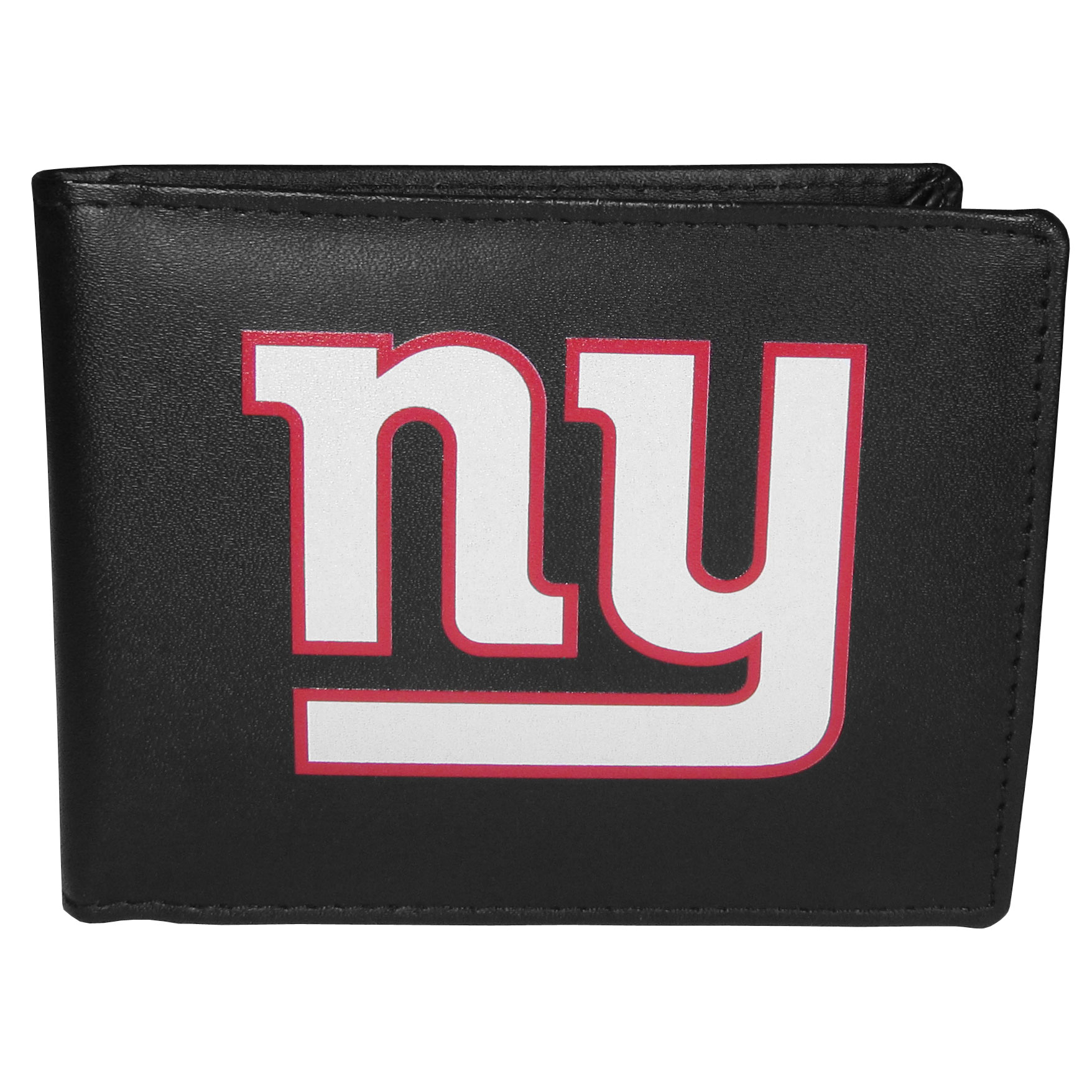New York Giants Bi-fold Wallet Large Logo - Sports fans do not have to sacrifice style with this classic bi-fold wallet that sports the New York Giants extra large logo. This men's fashion accessory has a leather grain look and expert craftmanship for a quality wallet at a great price. The wallet features inner credit card slots, windowed ID slot and a large billfold pocket. The front of the wallet features a printed team logo.