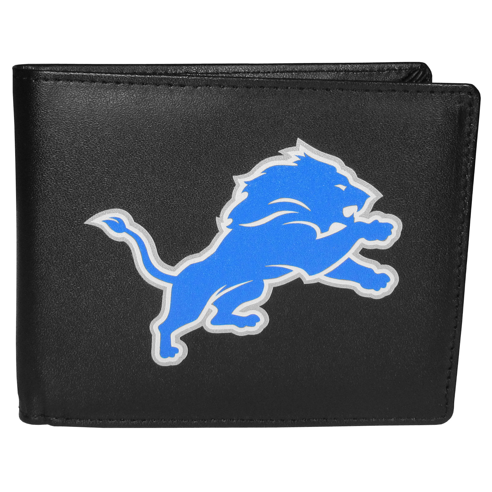 Detroit Lions Bi-fold Wallet Large Logo - Sports fans do not have to sacrifice style with this classic bi-fold wallet that sports the Detroit Lions extra large logo. This men's fashion accessory has a leather grain look and expert craftmanship for a quality wallet at a great price. The wallet features inner credit card slots, windowed ID slot and a large billfold pocket. The front of the wallet features a printed team logo.