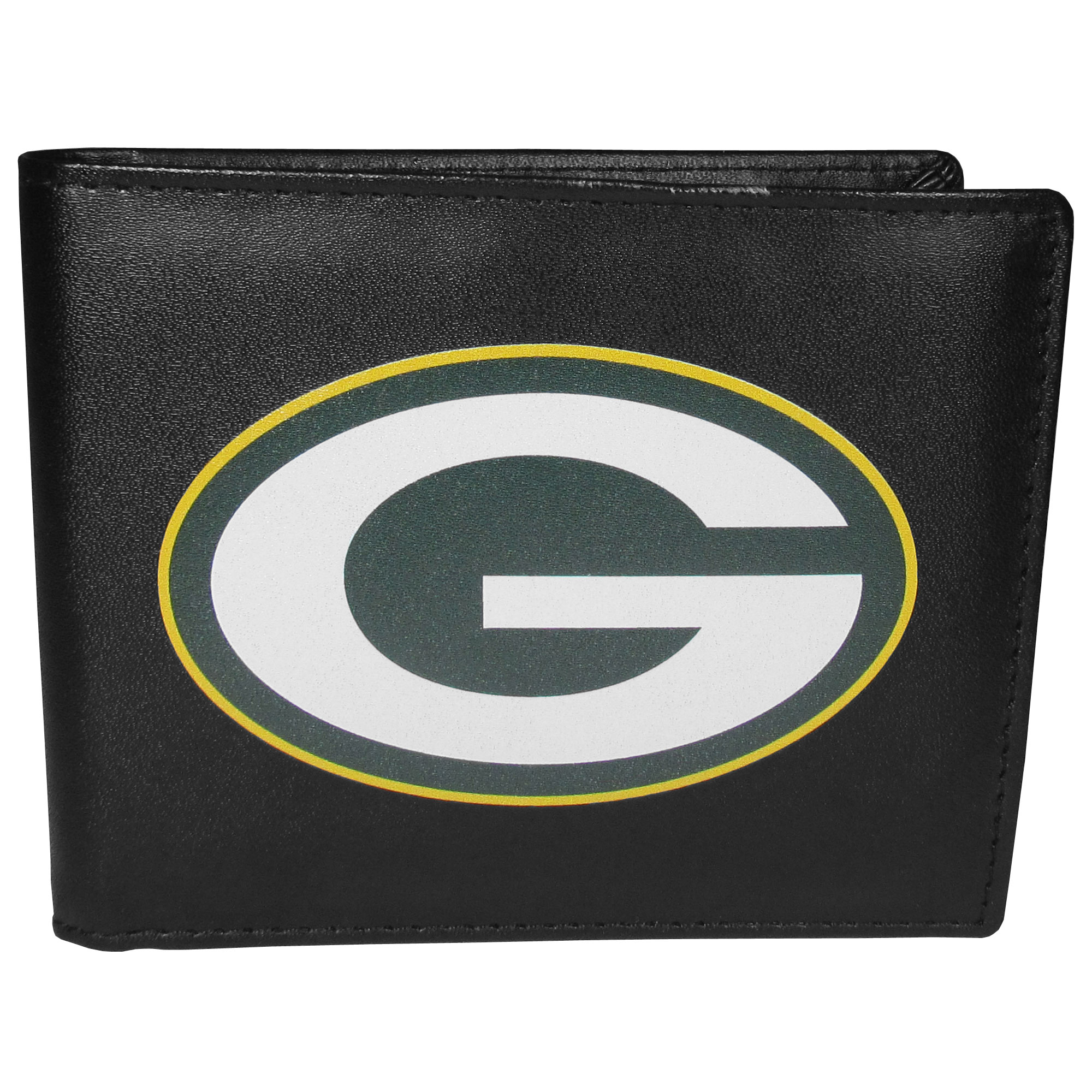 Green Bay Packers Bi-fold Wallet Large Logo - Sports fans do not have to sacrifice style with this classic bi-fold wallet that sports the Green Bay Packers extra large logo. This men's fashion accessory has a leather grain look and expert craftmanship for a quality wallet at a great price. The wallet features inner credit card slots, windowed ID slot and a large billfold pocket. The front of the wallet features a printed team logo.