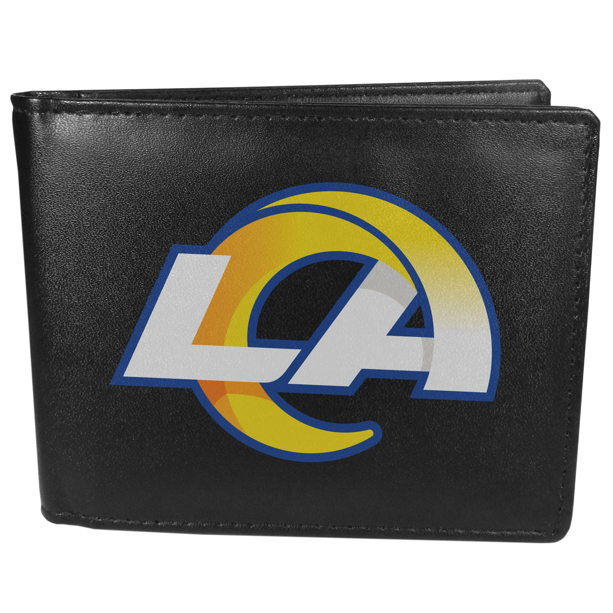 Los Angeles Rams Bi-fold Wallet Large Logo - Sports fans do not have to sacrifice style with this classic bi-fold wallet that sports the Los Angeles Rams extra large logo. This men's fashion accessory has a leather grain look and expert craftmanship for a quality wallet at a great price. The wallet features inner credit card slots, windowed ID slot and a large billfold pocket. The front of the wallet features a printed team logo.