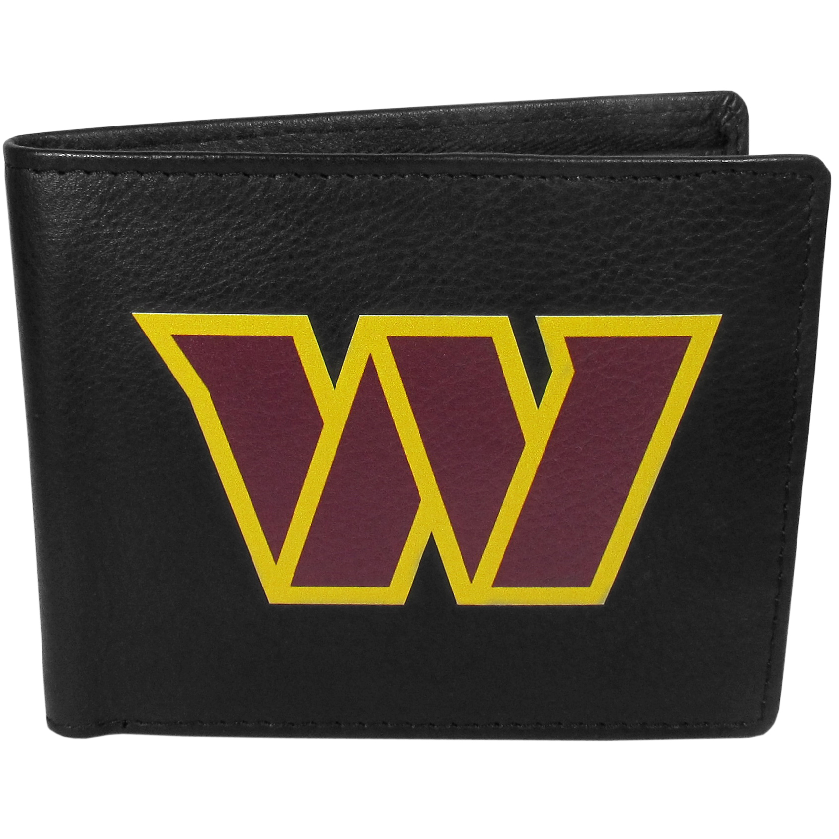 Washington Redskins Bi-fold Wallet Large Logo - Sports fans do not have to sacrifice style with this classic bi-fold wallet that sports the Washington Redskins extra large logo. This men's fashion accessory has a leather grain look and expert craftmanship for a quality wallet at a great price. The wallet features inner credit card slots, windowed ID slot and a large billfold pocket. The front of the wallet features a printed team logo.