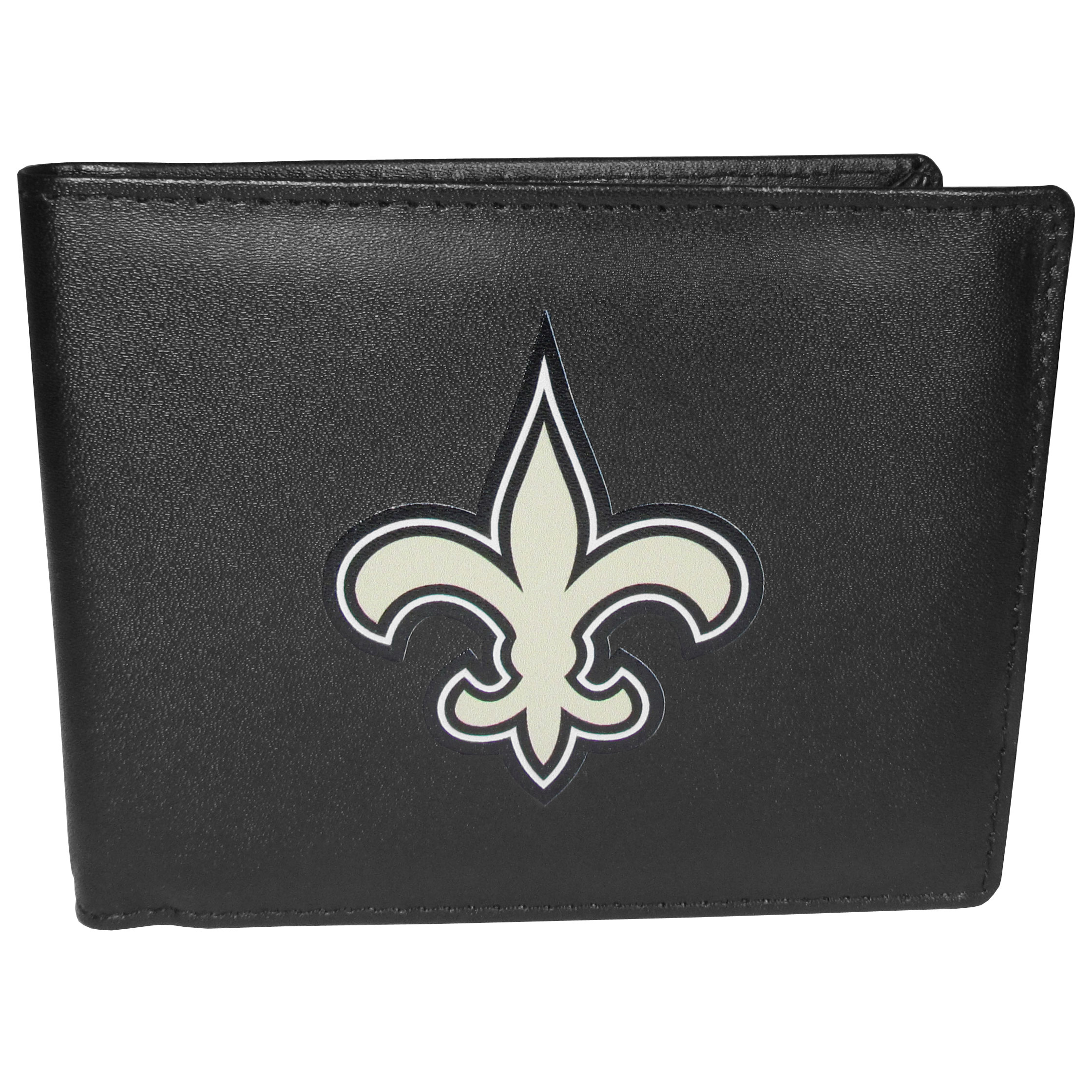 New Orleans Saints Bi-fold Wallet Large Logo - Sports fans do not have to sacrifice style with this classic bi-fold wallet that sports the New Orleans Saints extra large logo. This men's fashion accessory has a leather grain look and expert craftmanship for a quality wallet at a great price. The wallet features inner credit card slots, windowed ID slot and a large billfold pocket. The front of the wallet features a printed team logo.