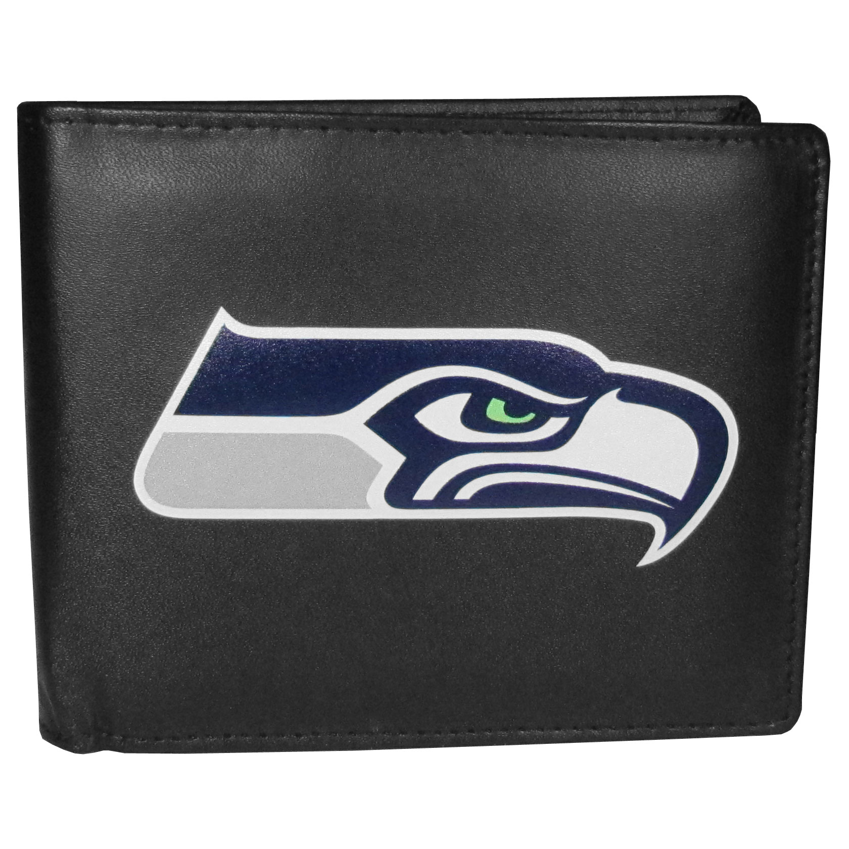 Seattle Seahawks Bi-fold Wallet Large Logo - Sports fans do not have to sacrifice style with this classic bi-fold wallet that sports the Seattle Seahawks extra large logo. This men's fashion accessory has a leather grain look and expert craftmanship for a quality wallet at a great price. The wallet features inner credit card slots, windowed ID slot and a large billfold pocket. The front of the wallet features a printed team logo.
