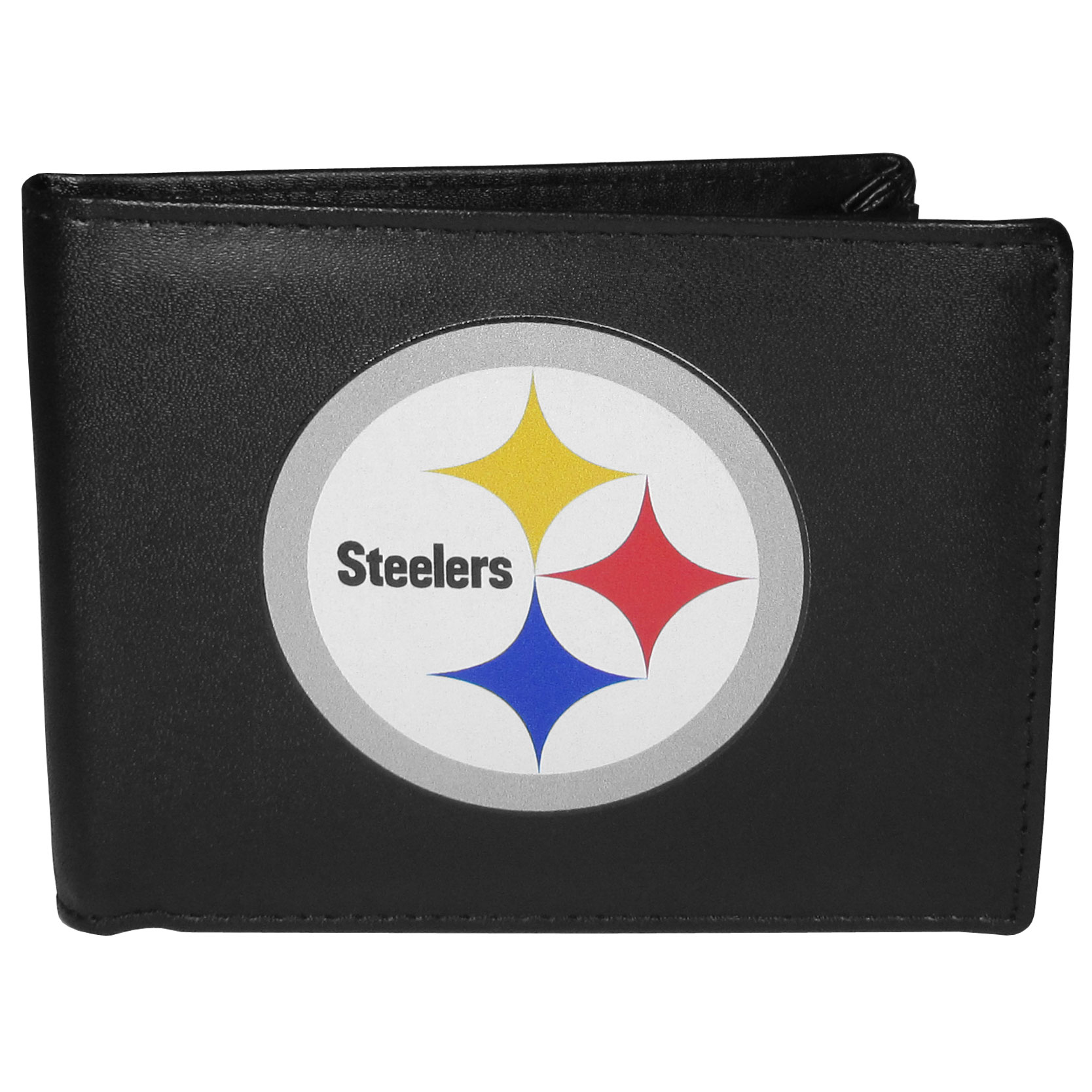 Pittsburgh Steelers Bi-fold Wallet Large Logo - Sports fans do not have to sacrifice style with this classic bi-fold wallet that sports the Pittsburgh Steelers extra large logo. This men's fashion accessory has a leather grain look and expert craftmanship for a quality wallet at a great price. The wallet features inner credit card slots, windowed ID slot and a large billfold pocket. The front of the wallet features a printed team logo.