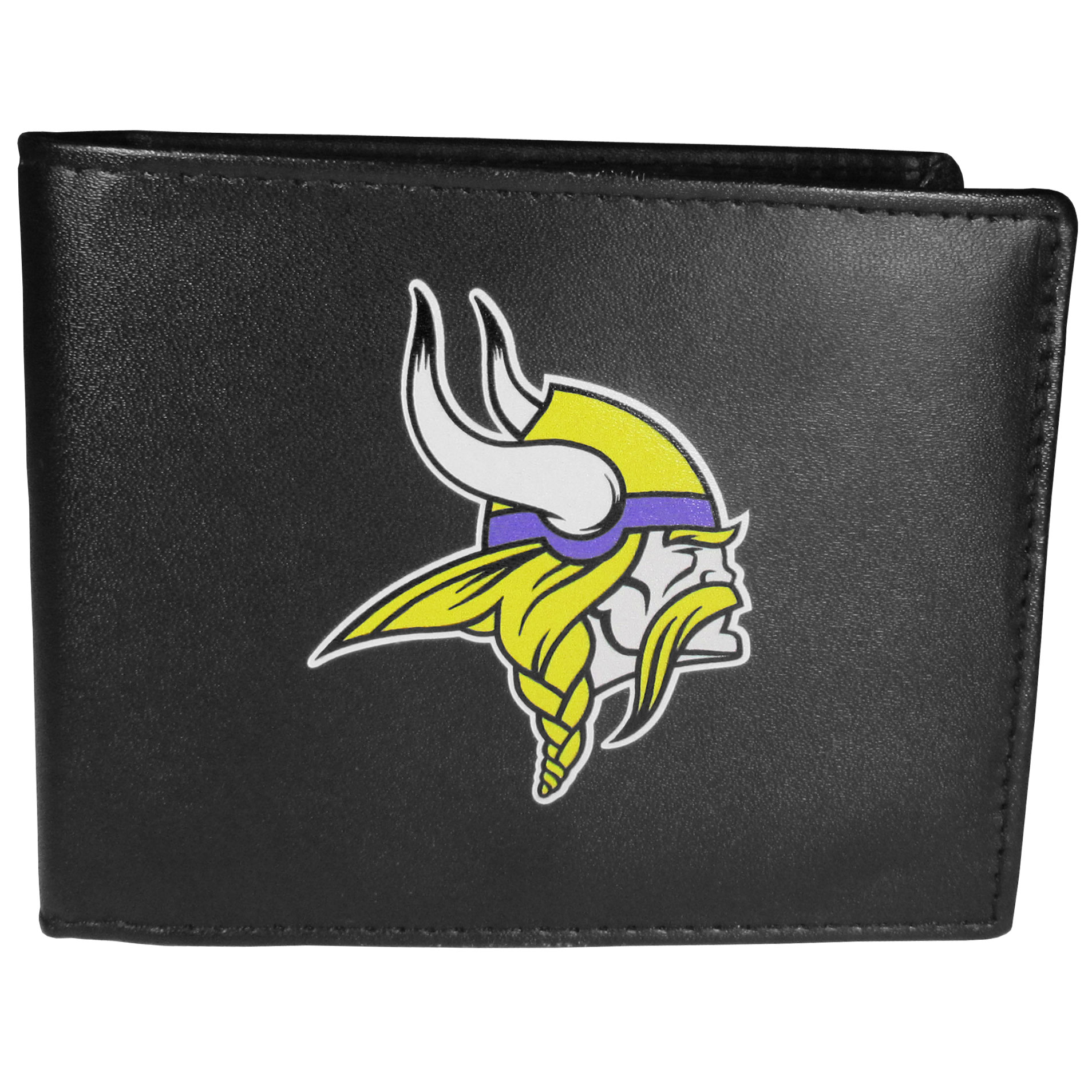 Minnesota Vikings Bi-fold Wallet Large Logo - Sports fans do not have to sacrifice style with this classic bi-fold wallet that sports the Minnesota Vikings extra large logo. This men's fashion accessory has a leather grain look and expert craftmanship for a quality wallet at a great price. The wallet features inner credit card slots, windowed ID slot and a large billfold pocket. The front of the wallet features a printed team logo.