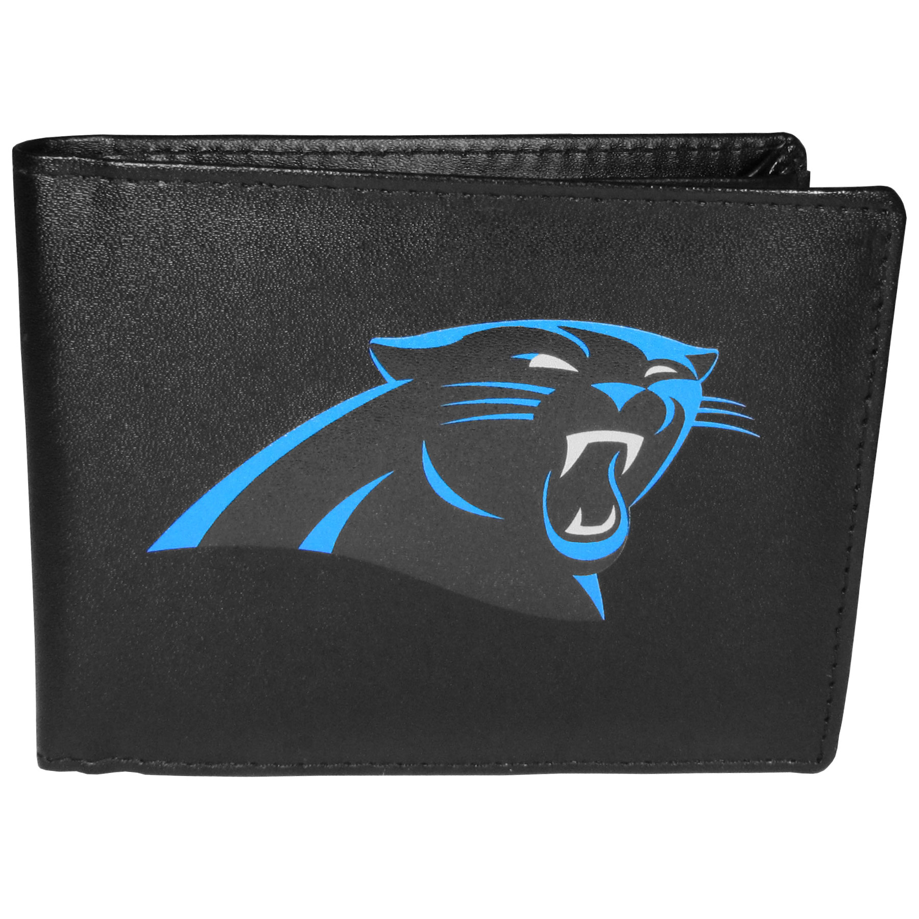 Carolina Panthers Bi-fold Wallet Large Logo - Sports fans do not have to sacrifice style with this classic bi-fold wallet that sports the Carolina Panthers extra large logo. This men's fashion accessory has a leather grain look and expert craftmanship for a quality wallet at a great price. The wallet features inner credit card slots, windowed ID slot and a large billfold pocket. The front of the wallet features a printed team logo.