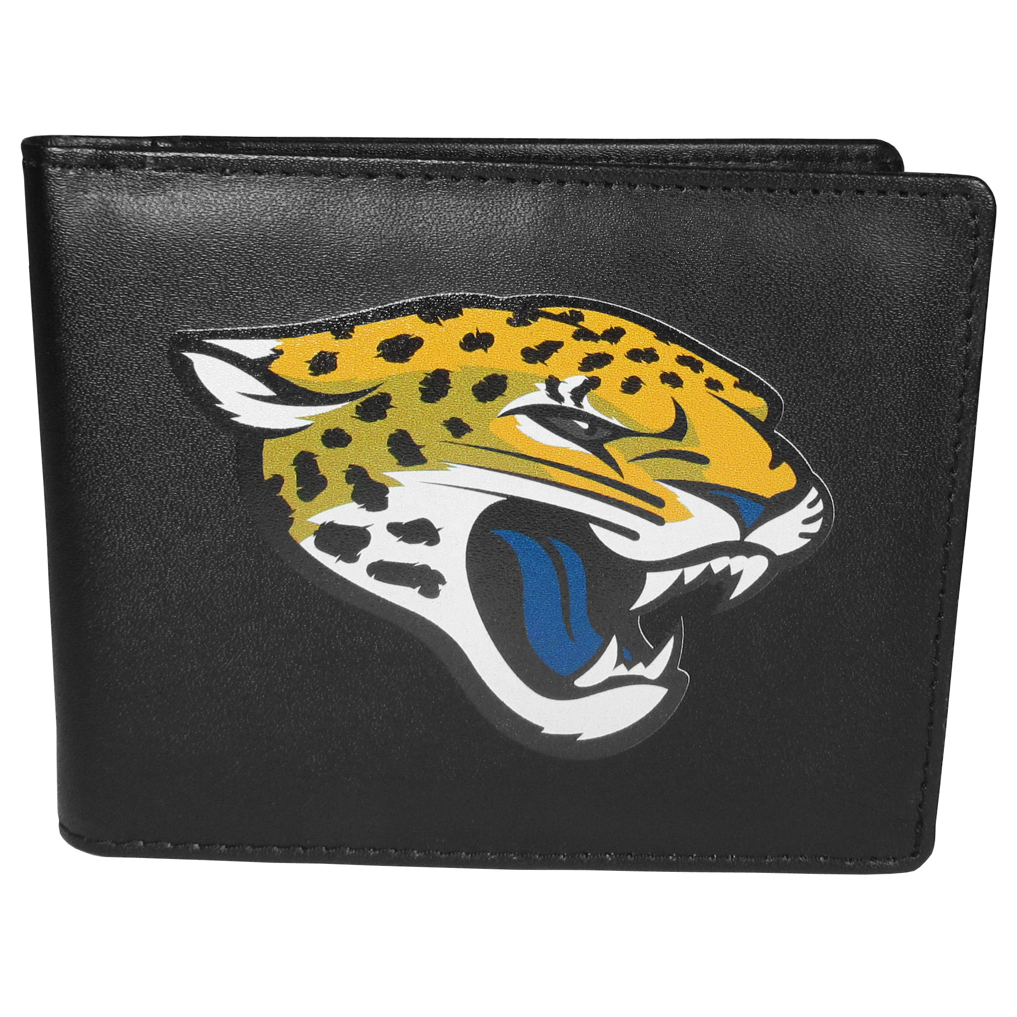 Jacksonville Jaguars Bi-fold Wallet Large Logo - Sports fans do not have to sacrifice style with this classic bi-fold wallet that sports the Jacksonville Jaguars extra large logo. This men's fashion accessory has a leather grain look and expert craftmanship for a quality wallet at a great price. The wallet features inner credit card slots, windowed ID slot and a large billfold pocket. The front of the wallet features a printed team logo.