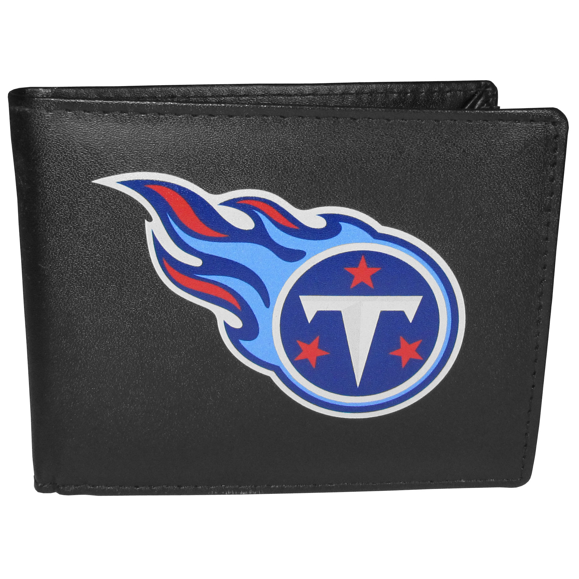 Tennessee Titans Bi-fold Wallet Large Logo - Sports fans do not have to sacrifice style with this classic bi-fold wallet that sports the Tennessee Titans extra large logo. This men's fashion accessory has a leather grain look and expert craftmanship for a quality wallet at a great price. The wallet features inner credit card slots, windowed ID slot and a large billfold pocket. The front of the wallet features a printed team logo.