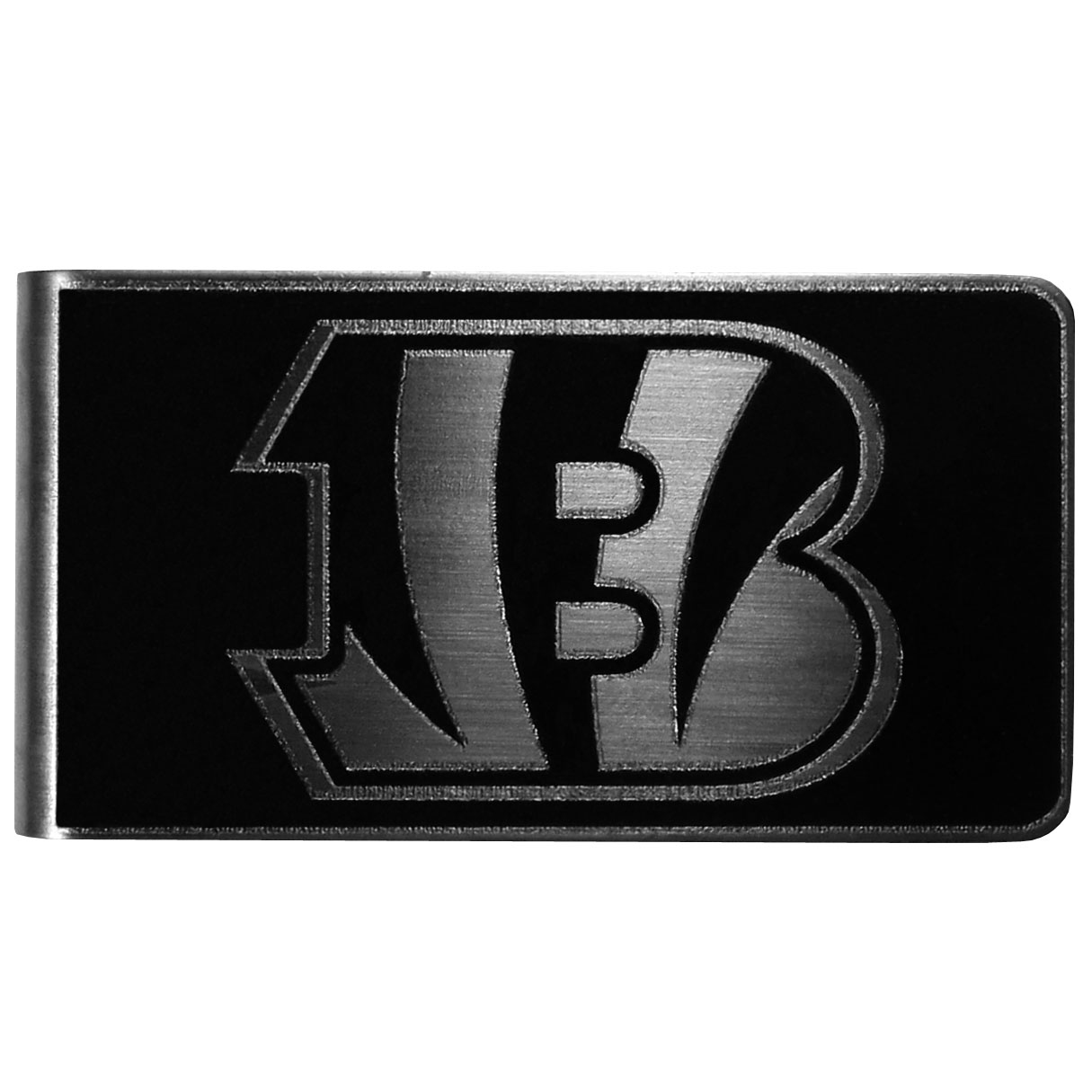 Cincinnati Bengals Black and Steel Money Clip - Our monochromatic steel money clips have a classic style and superior quality. The strong, steel clip has a black overlay of the Cincinnati Bengals logo over the brushed metal finish creating a stylish men's fashion accessory that would make any fan proud.