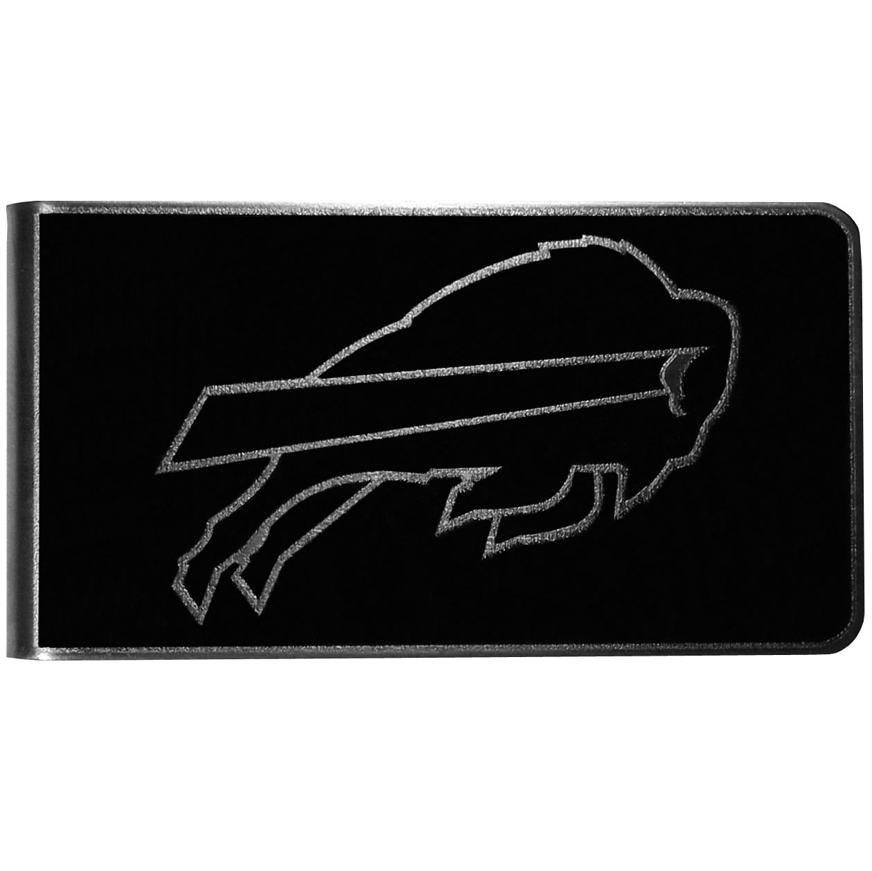 Buffalo Bills Black and Steel Money Clip - Our monochromatic steel money clips have a classic style and superior quality. The strong, steel clip has a black overlay of the Buffalo Bills logo over the brushed metal finish creating a stylish men's fashion accessory that would make any fan proud.