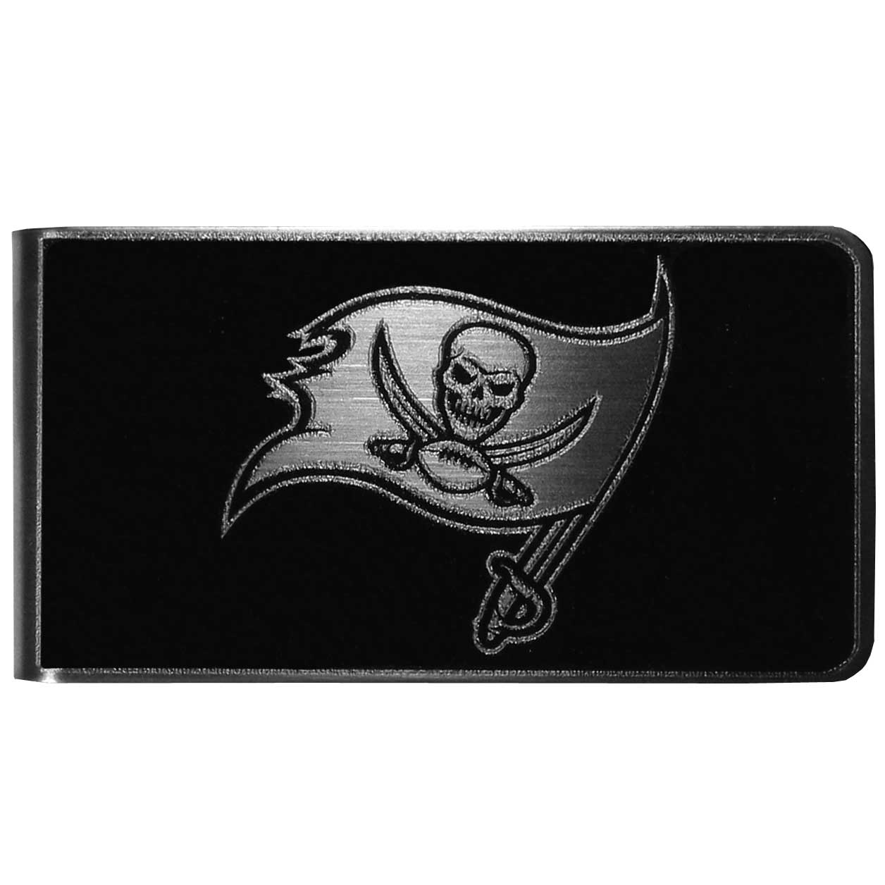 Tampa Bay Buccaneers Black and Steel Money Clip - Our monochromatic steel money clips have a classic style and superior quality. The strong, steel clip has a black overlay of the Tampa Bay Buccaneers logo over the brushed metal finish creating a stylish men's fashion accessory that would make any fan proud.