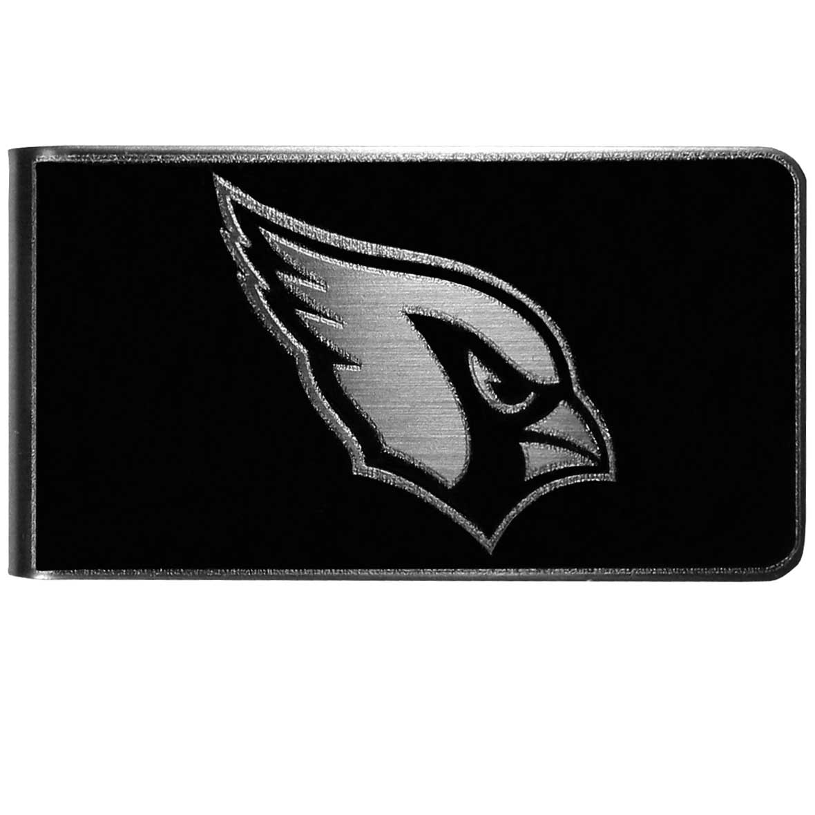 Arizona Cardinals Black and Steel Money Clip - Our monochromatic steel money clips have a classic style and superior quality. The strong, steel clip has a black overlay of the Arizona Cardinals logo over the brushed metal finish creating a stylish men's fashion accessory that would make any fan proud.