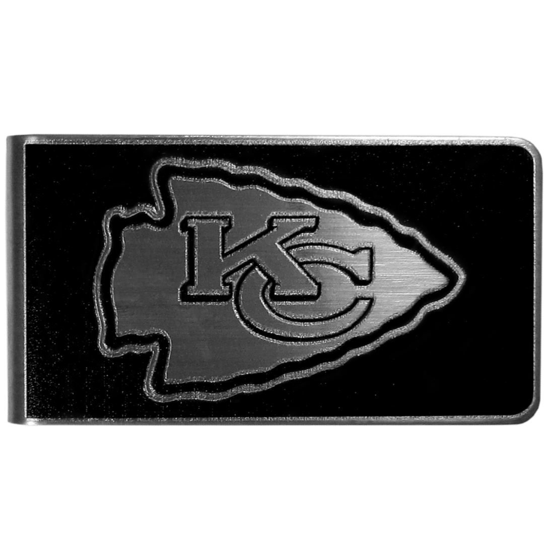 Kansas City Chiefs Black and Steel Money Clip - Our monochromatic steel money clips have a classic style and superior quality. The strong, steel clip has a black overlay of the Kansas City Chiefs logo over the brushed metal finish creating a stylish men's fashion accessory that would make any fan proud.
