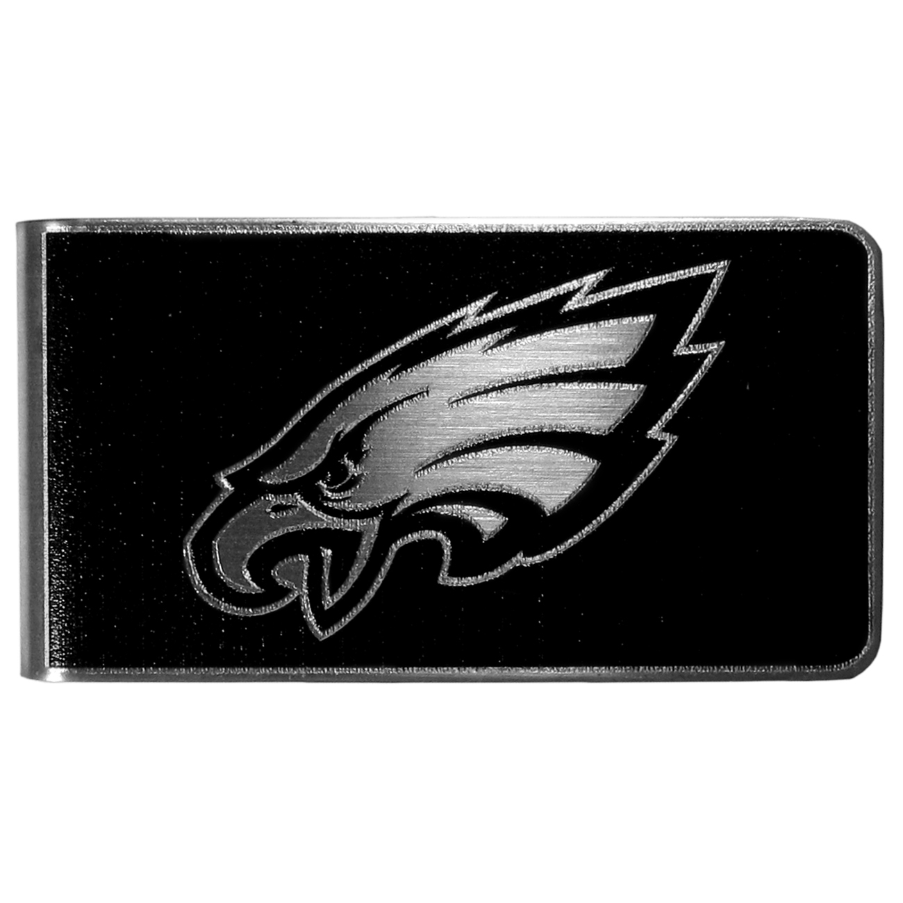 Philadelphia Eagles Black and Steel Money Clip - Our monochromatic steel money clips have a classic style and superior quality. The strong, steel clip has a black overlay of the Philadelphia Eagles logo over the brushed metal finish creating a stylish men's fashion accessory that would make any fan proud.