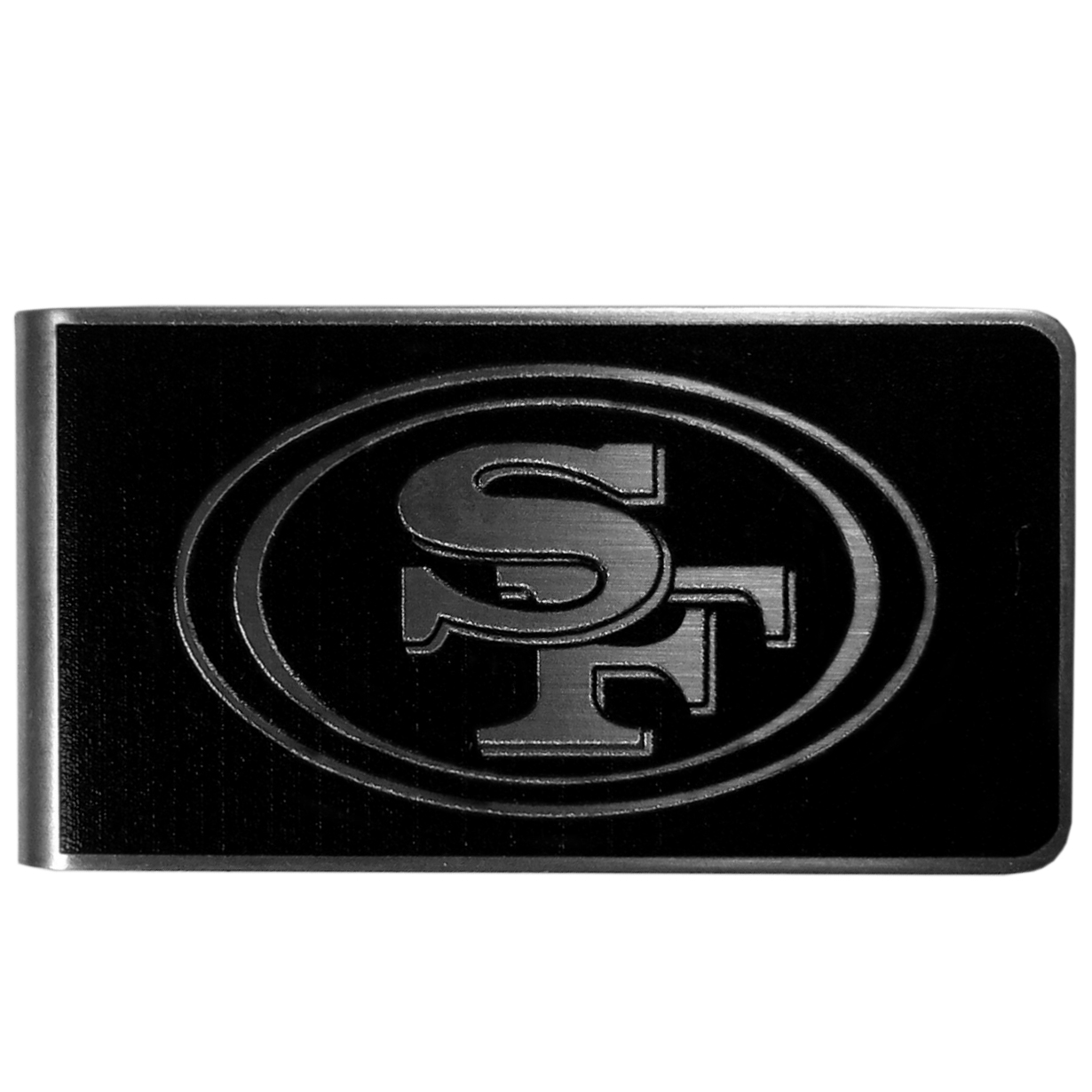 San Francisco 49ers Black and Steel Money Clip - Our monochromatic steel money clips have a classic style and superior quality. The strong, steel clip has a black overlay of the San Francisco 49ers logo over the brushed metal finish creating a stylish men's fashion accessory that would make any fan proud.