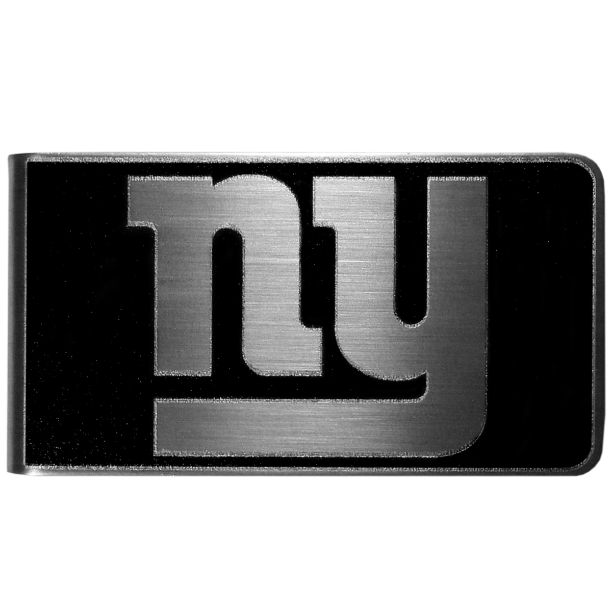 New York Giants Black and Steel Money Clip - Our monochromatic steel money clips have a classic style and superior quality. The strong, steel clip has a black overlay of the New York Giants logo over the brushed metal finish creating a stylish men's fashion accessory that would make any fan proud.