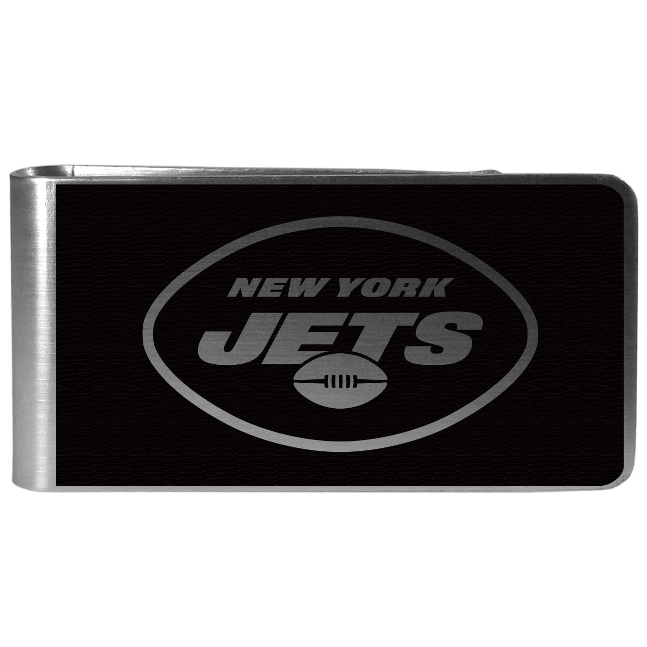 New York Jets Black and Steel Money Clip - Our monochromatic steel money clips have a classic style and superior quality. The strong, steel clip has a black overlay of the New York Jets logo over the brushed metal finish creating a stylish men's fashion accessory that would make any fan proud.