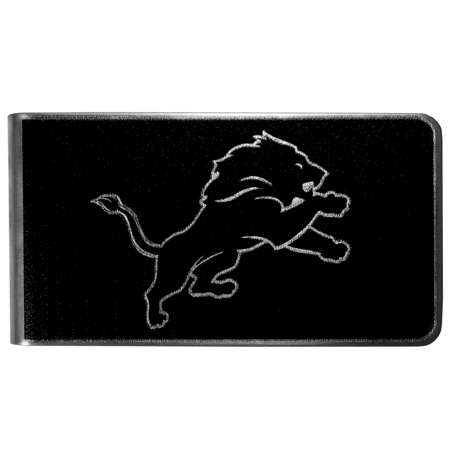 Detroit Lions Black and Steel Money Clip - Our monochromatic steel money clips have a classic style and superior quality. The strong, steel clip has a black overlay of the Detroit Lions logo over the brushed metal finish creating a stylish men's fashion accessory that would make any fan proud.