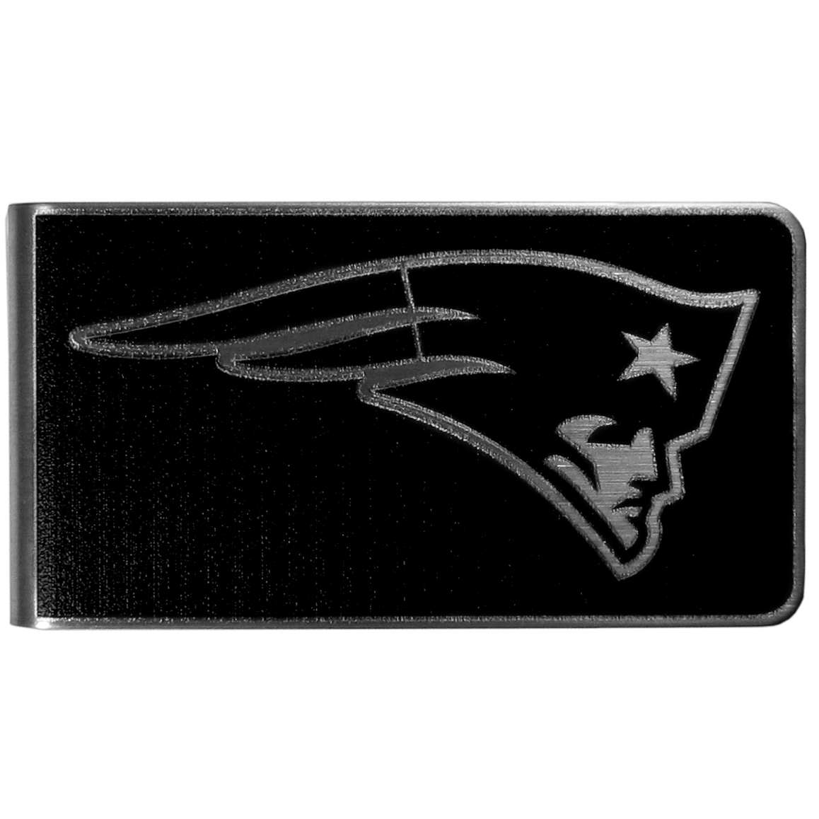 New England Patriots Black and Steel Money Clip - Our monochromatic steel money clips have a classic style and superior quality. The strong, steel clip has a black overlay of the New England Patriots logo over the brushed metal finish creating a stylish men's fashion accessory that would make any fan proud.