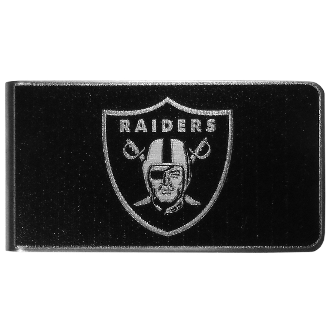 Oakland Raiders Black and Steel Money Clip - Our monochromatic steel money clips have a classic style and superior quality. The strong, steel clip has a black overlay of the Oakland Raiders logo over the brushed metal finish creating a stylish men's fashion accessory that would make any fan proud.
