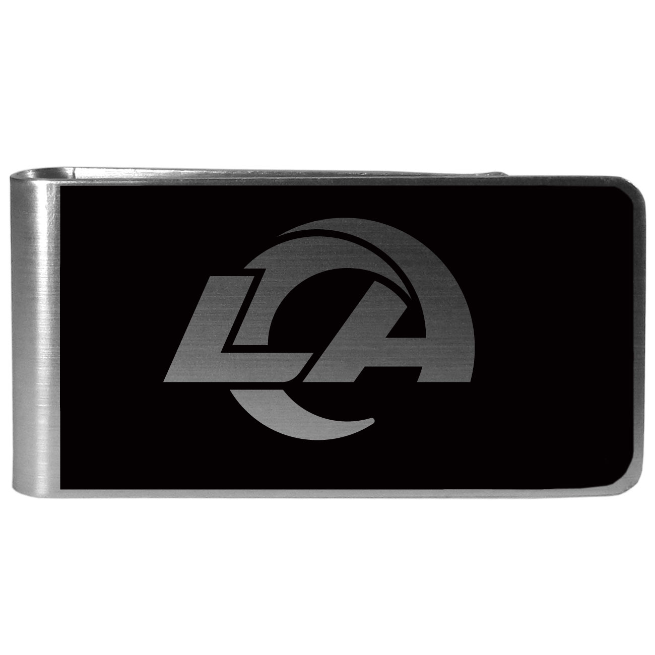 Los Angeles Rams Black and Steel Money Clip - Our monochromatic steel money clips have a classic style and superior quality. The strong, steel clip has a black overlay of the Los Angeles Rams logo over the brushed metal finish creating a stylish men's fashion accessory that would make any fan proud.