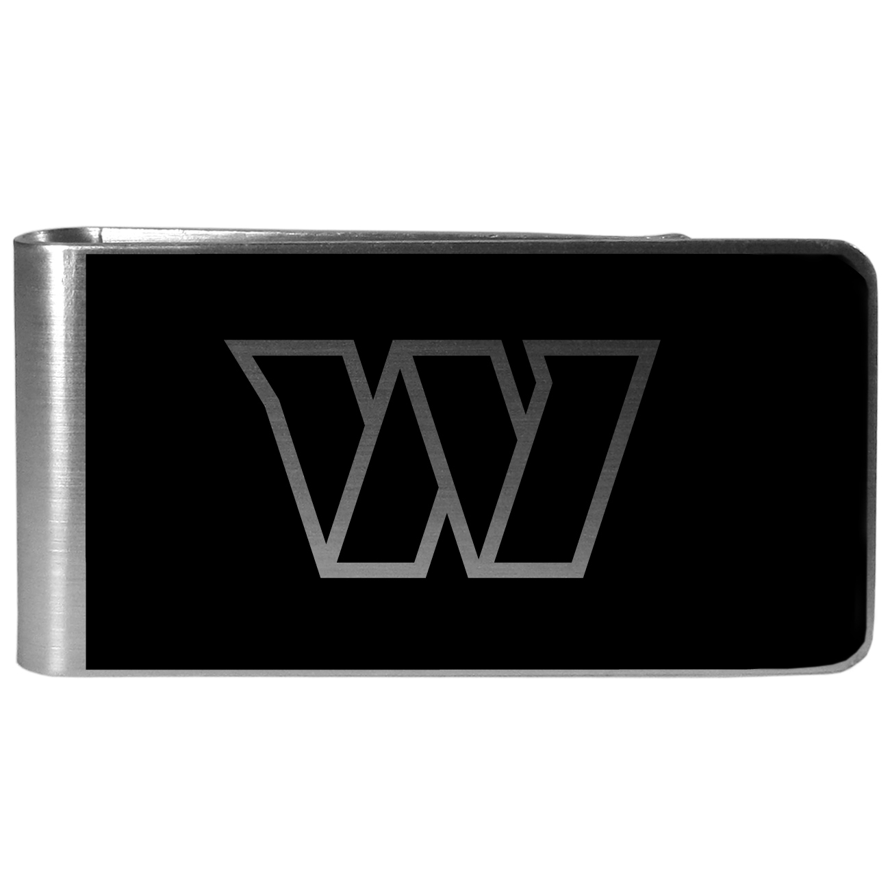 Washington Redskins Black and Steel Money Clip - Our monochromatic steel money clips have a classic style and superior quality. The strong, steel clip has a black overlay of the Washington Redskins logo over the brushed metal finish creating a stylish men's fashion accessory that would make any fan proud.