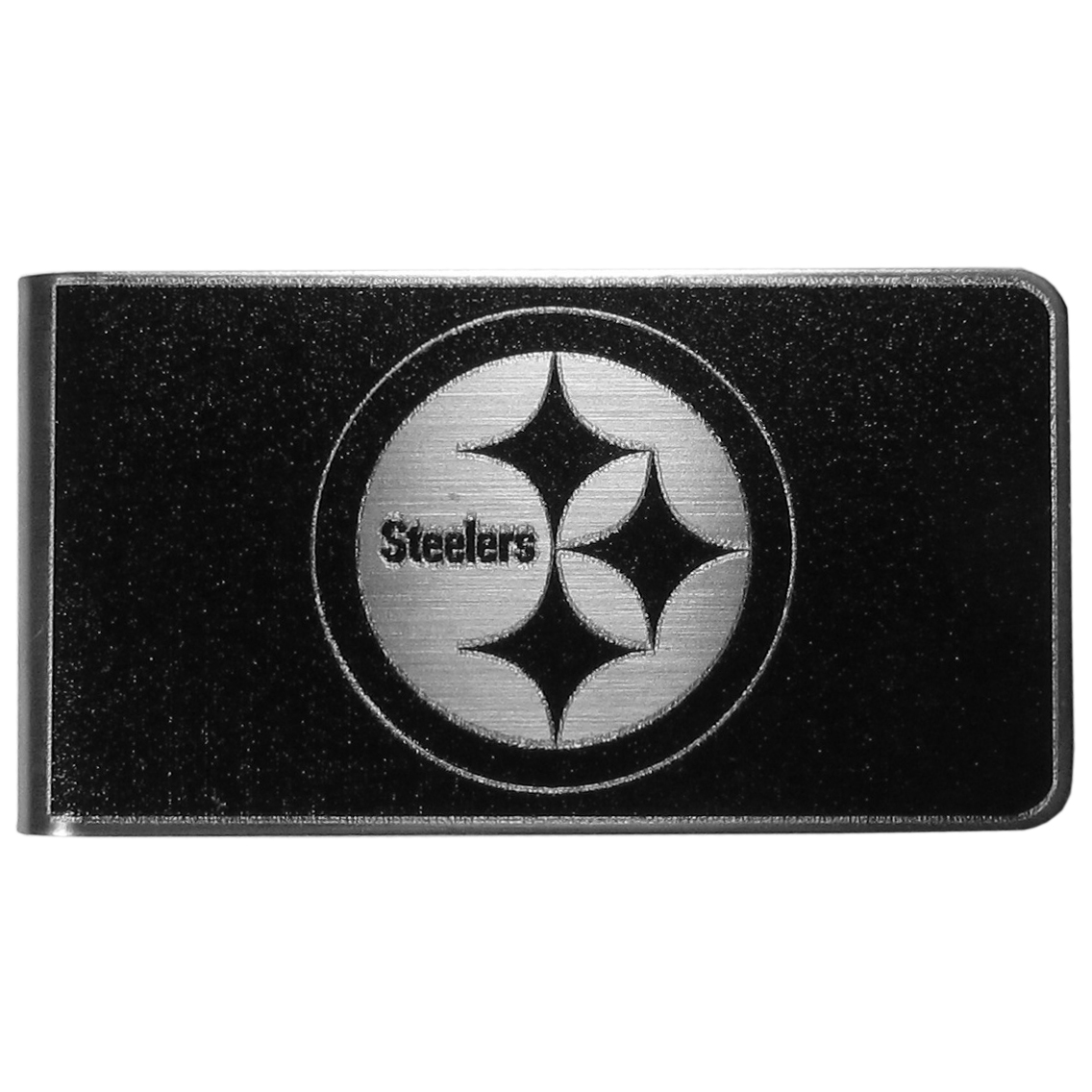 Pittsburgh Steelers Black and Steel Money Clip - Our monochromatic steel money clips have a classic style and superior quality. The strong, steel clip has a black overlay of the Pittsburgh Steelers logo over the brushed metal finish creating a stylish men's fashion accessory that would make any fan proud.