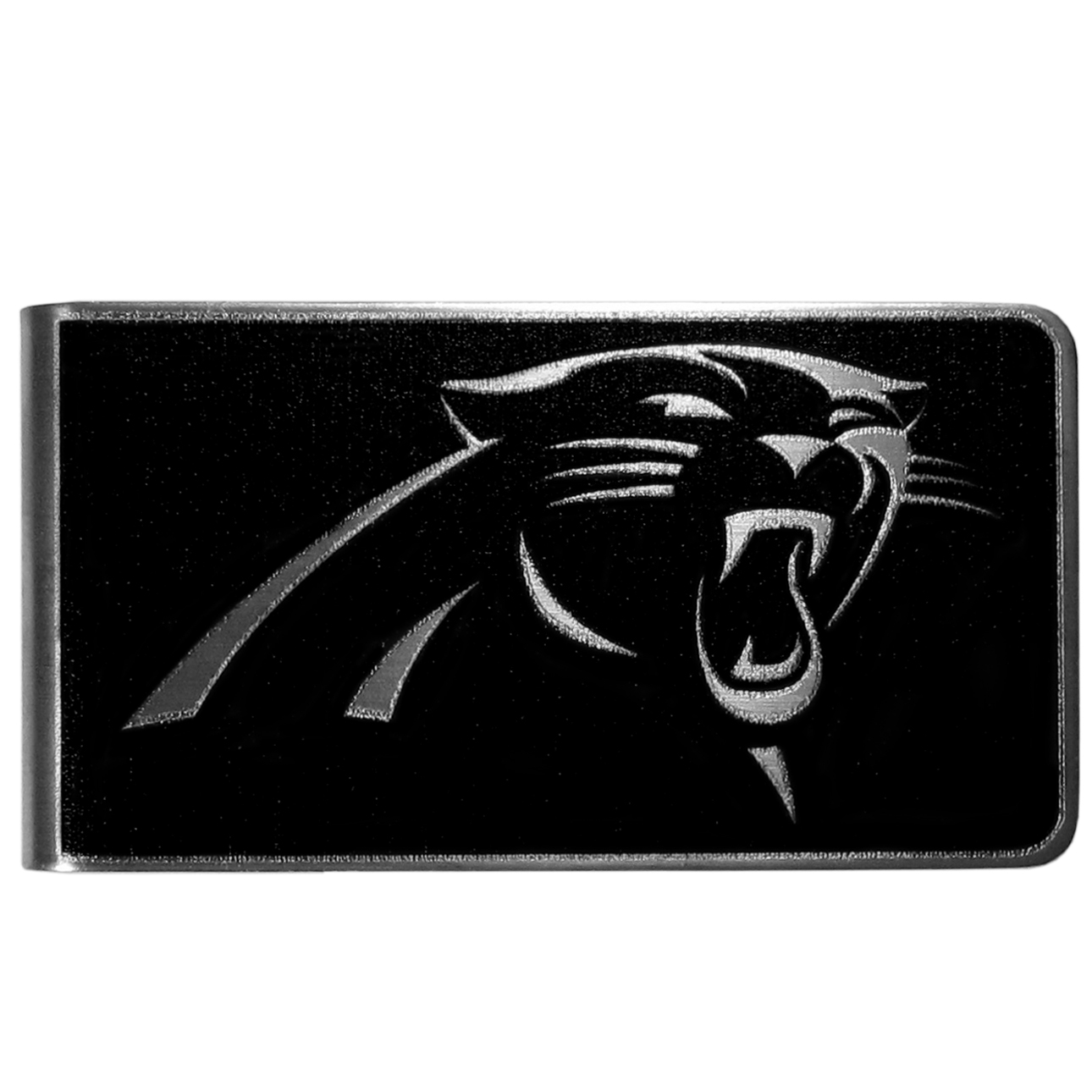 Carolina Panthers Black and Steel Money Clip - Our monochromatic steel money clips have a classic style and superior quality. The strong, steel clip has a black overlay of the Carolina Panthers logo over the brushed metal finish creating a stylish men's fashion accessory that would make any fan proud.