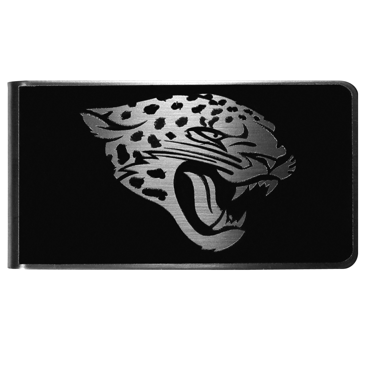 Jacksonville Jaguars Black and Steel Money Clip - Our monochromatic steel money clips have a classic style and superior quality. The strong, steel clip has a black overlay of the Jacksonville Jaguars logo over the brushed metal finish creating a stylish men's fashion accessory that would make any fan proud.
