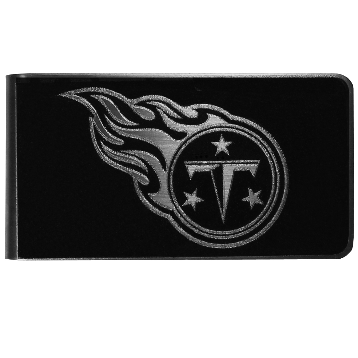 Tennessee Titans Black and Steel Money Clip - Our monochromatic steel money clips have a classic style and superior quality. The strong, steel clip has a black overlay of the Tennessee Titans logo over the brushed metal finish creating a stylish men's fashion accessory that would make any fan proud.