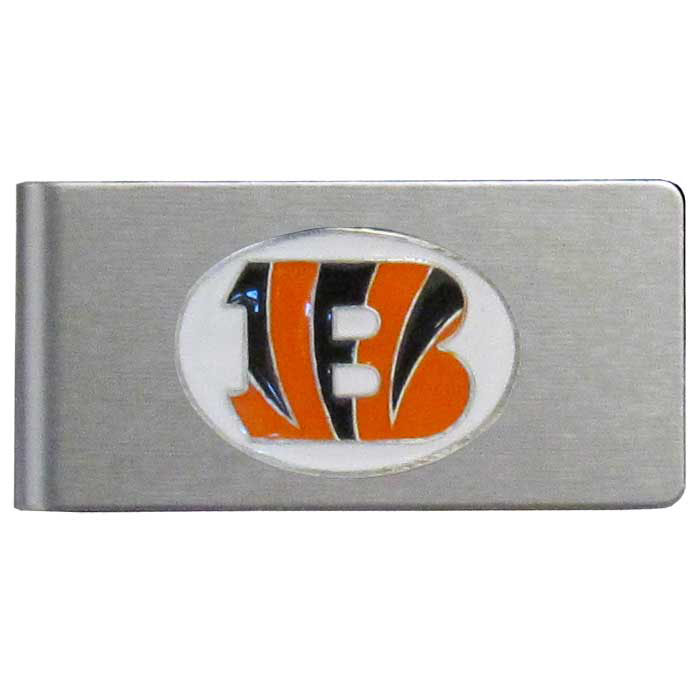 Cincinnati Bengals Brushed Metal Money Clip - Our brushed metal money clip has classic style and functionality. The attractive clip features a metal Cincinnati Bengals emblem with expertly enameled detail