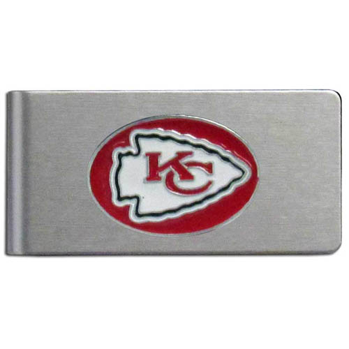 Kansas City Chiefs Brushed Metal Money Clip - Our brushed metal money clip has classic style and functionality. The attractive clip features a metal Kansas City Chiefs emblem with expertly enameled detail