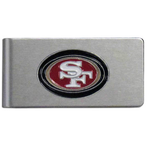San Francisco 49ers Brushed Metal Money Clip - Our brushed metal money clip has classic style and functionality. The attractive clip features a metal San Francisco 49ers emblem with expertly enameled detail