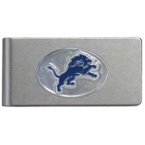 Detroit Lions Brushed Money Clip - This quality NFL Detroit Lions money clip has a brushed metal finish and features a fully cast and hand enameled Detroit Lions team logo. Officially licensed NFL product Licensee: Siskiyou Buckle .com