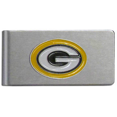 Green Bay Packers Brushed Money Clip - This quality NFL Green Bay Packers money clip has a brushed metal finish and features a fully cast and hand enameled Green Bay Packers team logo. Officially licensed NFL product Licensee: Siskiyou Buckle Thank you for visiting CrazedOutSports.com