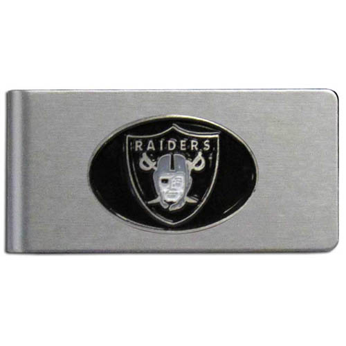 Oakland Raiders Brushed Metal Money Clip - Our brushed metal money clip has classic style and functionality. The attractive clip features a metal Oakland Raiders emblem with expertly enameled detail