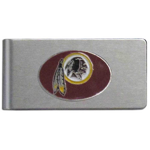 Washington Redskins Brushed Money Clip - This quality NFL Washington Redskins money clip has a brushed metal finish and features a fully cast and hand enameled Washington Redskins team logo. Officially licensed NFL product Licensee: Siskiyou Buckle Thank you for visiting CrazedOutSports.com