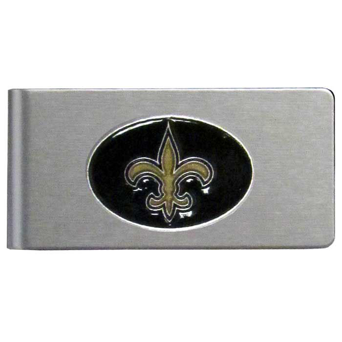 New Orleans Saints Brushed Metal Money Clip - Our brushed metal money clip has classic style and functionality. The attractive clip features a metal New Orleans Saints emblem with expertly enameled detail