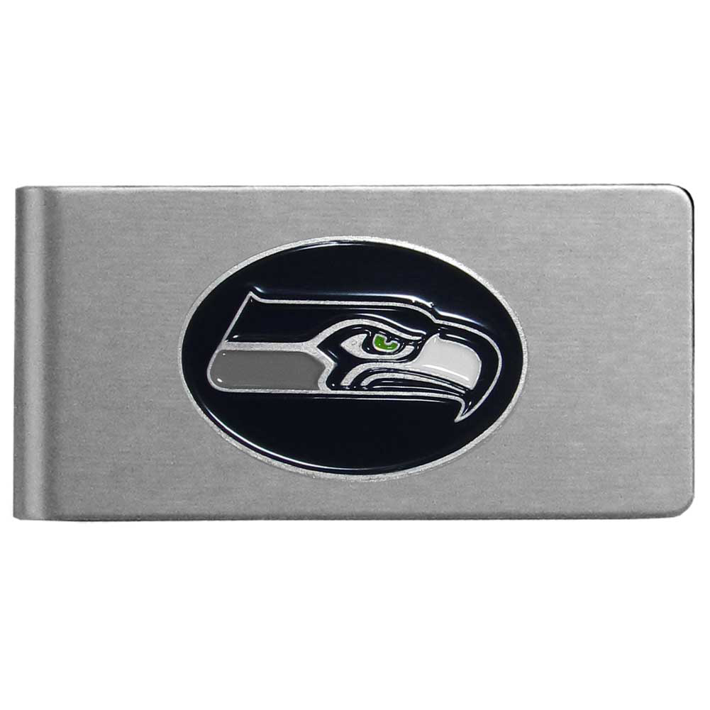 Seattle Seahawks Brushed Metal Money Clip - Our brushed metal money clip has classic style and functionality. The attractive clip features a metal Seattle Seahawks emblem with expertly enameled detail