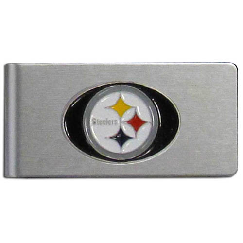 Pittsburgh Steelers Brushed Money Clip - This quality NFL Pittsburgh Steelers money clip has a brushed metal finish and features a fully cast and hand enameled Pittsburgh Steelers team logo. Officially licensed NFL product Licensee: Siskiyou Buckle .com