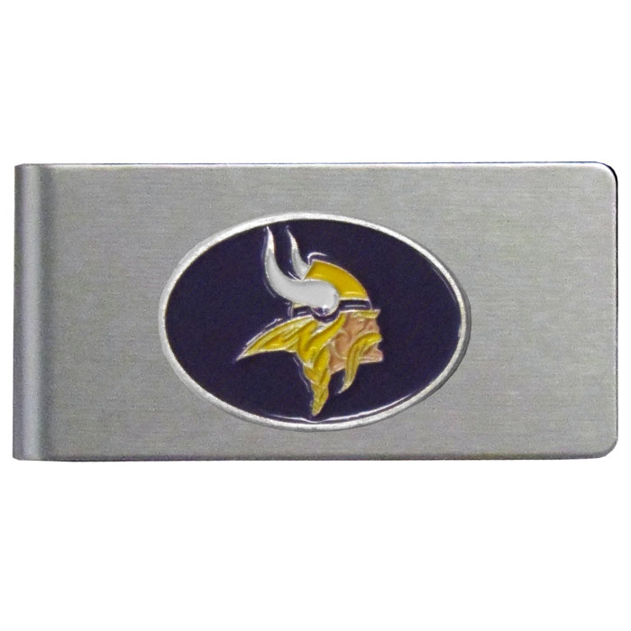 Minnesota Vikings Brushed Metal Money Clip - Our brushed metal money clip has classic style and functionality. The attractive clip features a metal Minnesota Vikings emblem with expertly enameled detail
