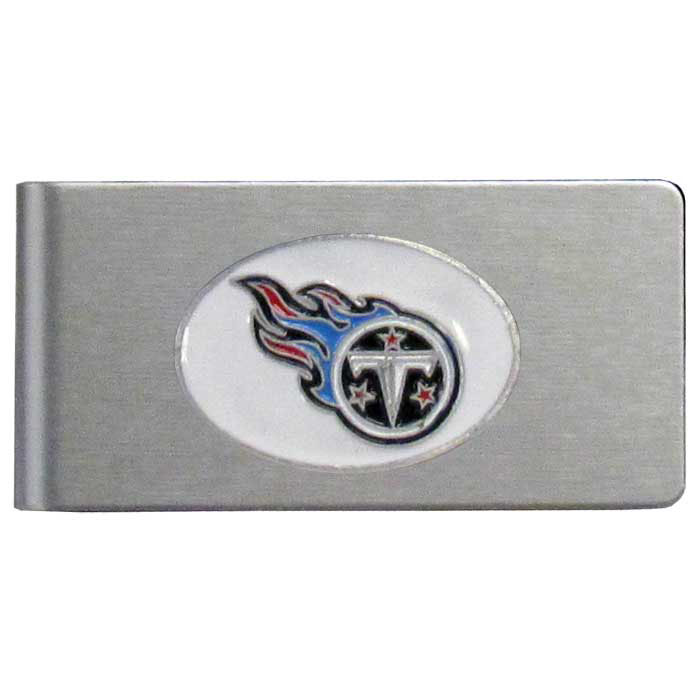 Tennessee Titans Brushed Metal Money Clip - Our brushed metal money clip has classic style and functionality. The attractive clip features a metal Tennessee Titans emblem with expertly enameled detail