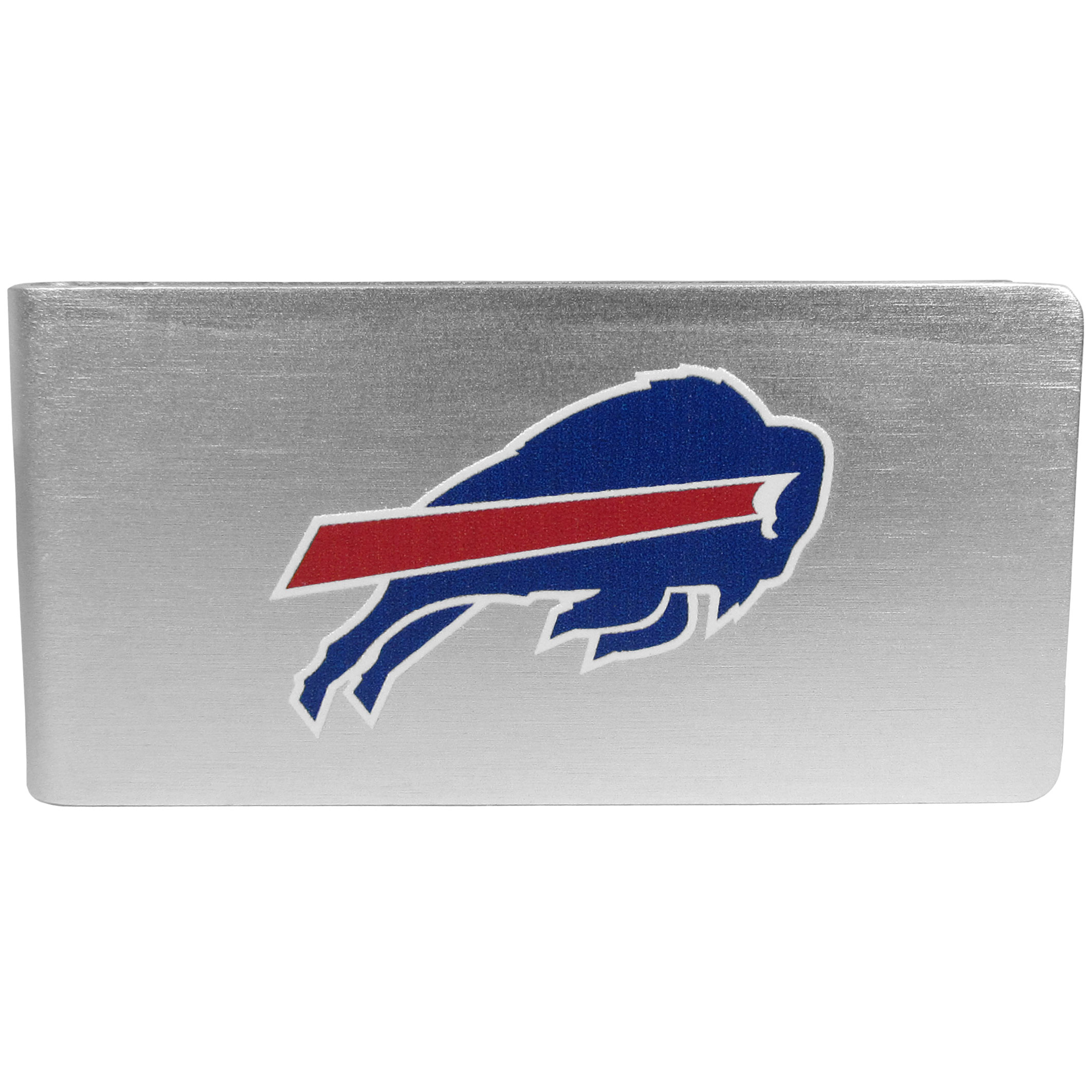 Buffalo Bills Logo Money Clip - Our brushed metal money clip has classic style and functionality. The attractive clip features the Buffalo Bills logo expertly printed on front.