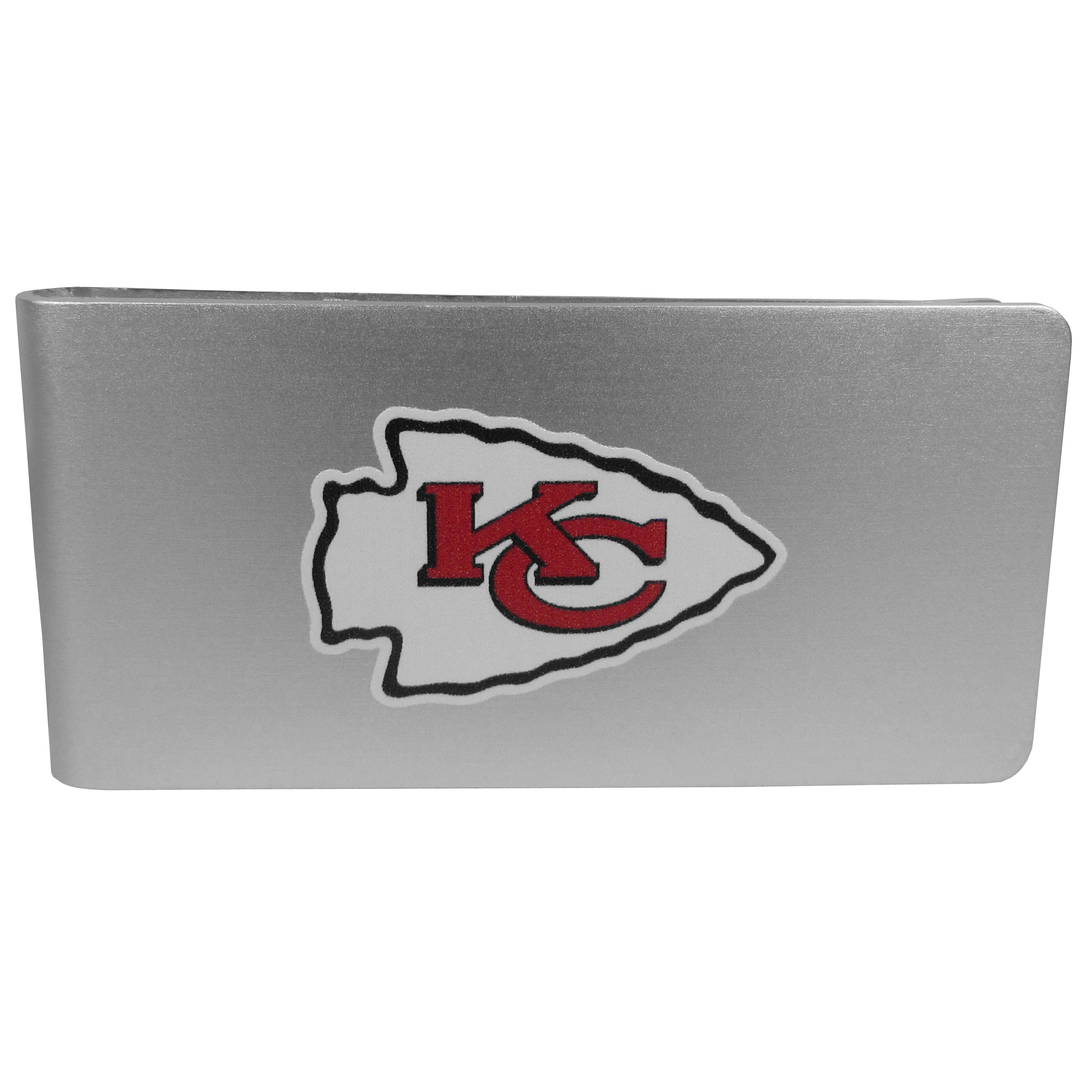 Kansas City Chiefs Logo Money Clip - Our brushed metal money clip has classic style and functionality. The attractive clip features the Kansas City Chiefs logo expertly printed on front.