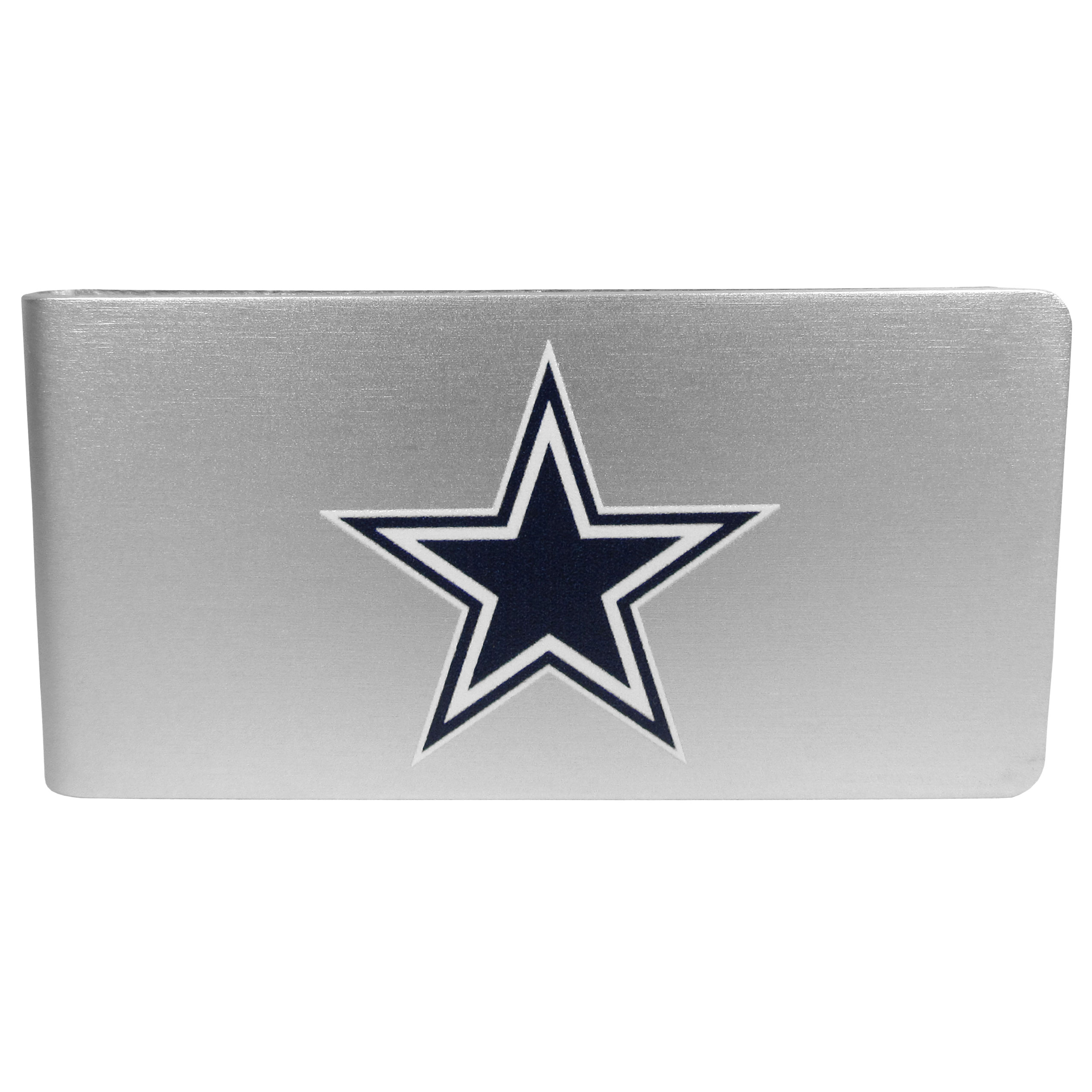 Dallas Cowboys Logo Money Clip - Our brushed metal money clip has classic style and functionality. The attractive clip features the Dallas Cowboys logo expertly printed on front.
