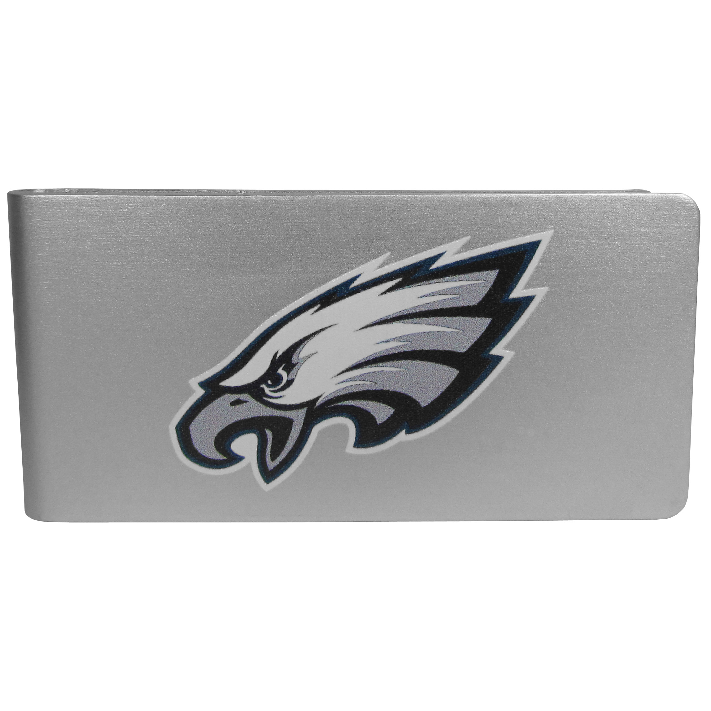 Philadelphia Eagles Logo Money Clip - Our brushed metal money clip has classic style and functionality. The attractive clip features the Philadelphia Eagles logo expertly printed on front.