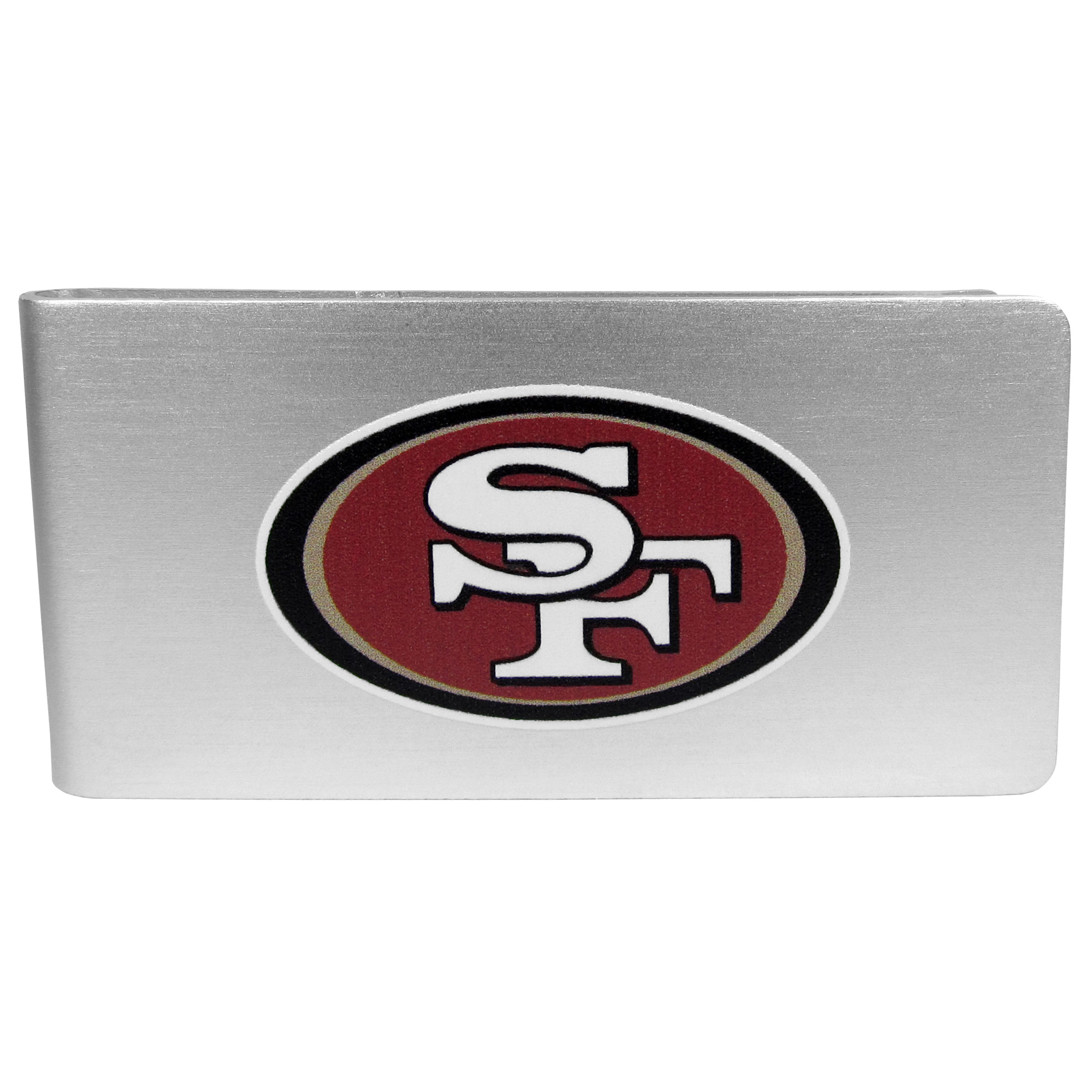 San Francisco 49ers Logo Money Clip - Our brushed metal money clip has classic style and functionality. The attractive clip features the San Francisco 49ers logo expertly printed on front.