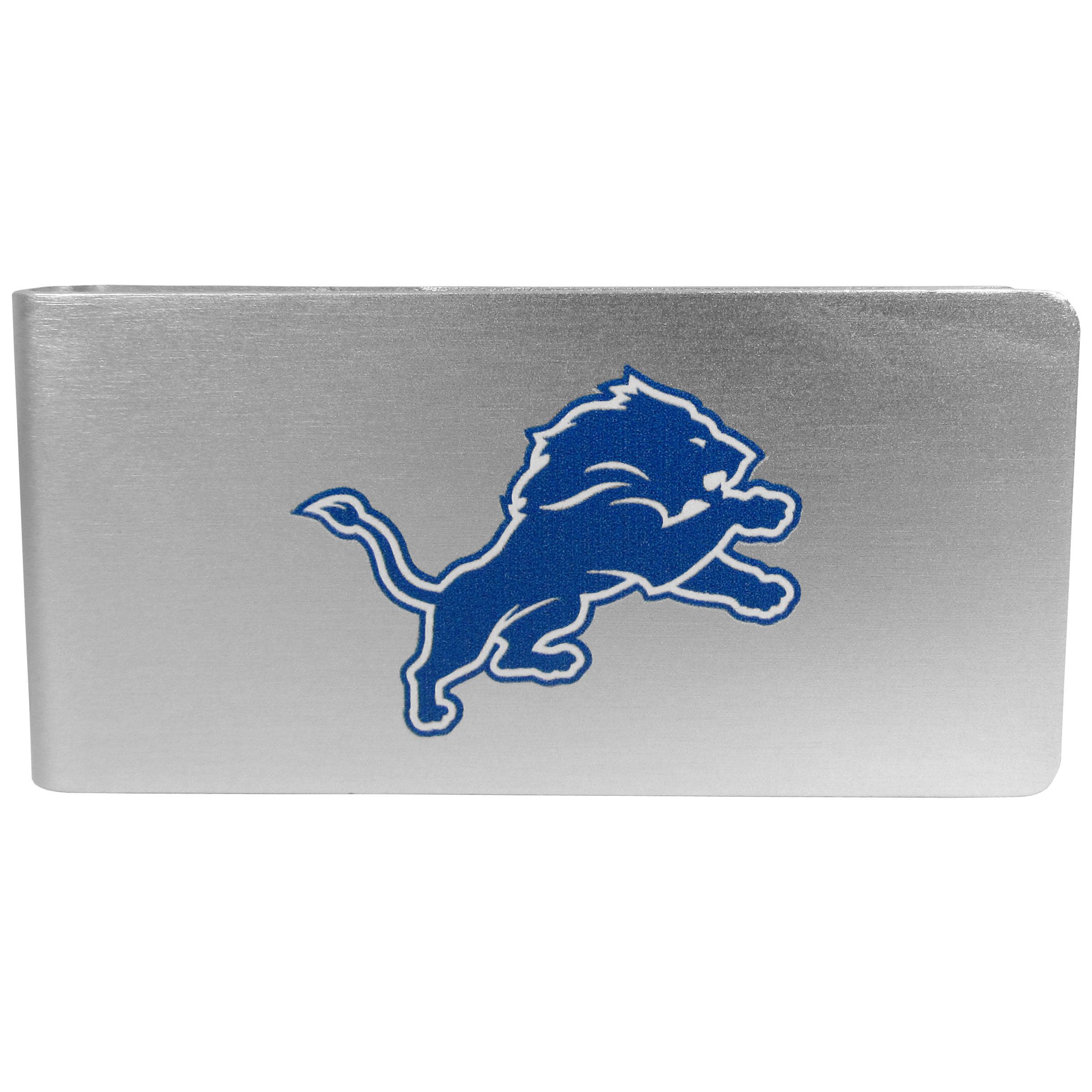 Detroit Lions Logo Money Clip - Our brushed metal money clip has classic style and functionality. The attractive clip features the Detroit Lions logo expertly printed on front.