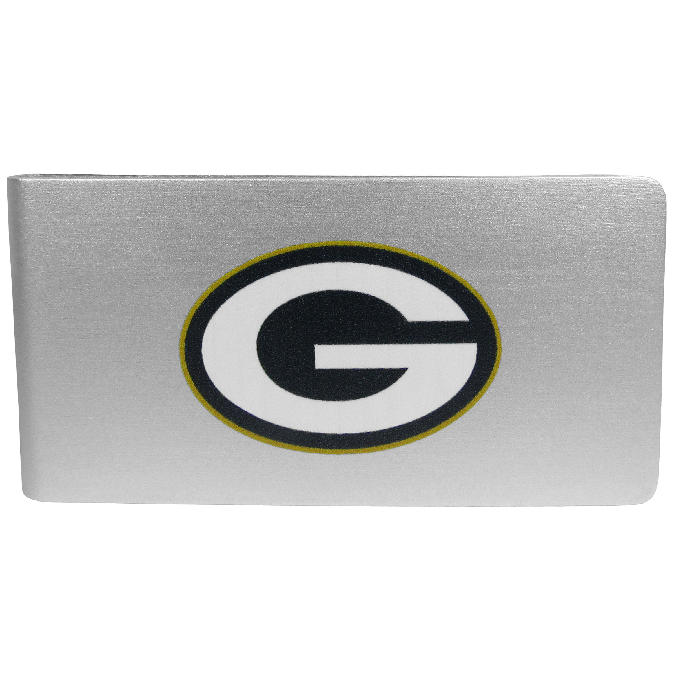 Green Bay Packers Logo Money Clip - Our brushed metal money clip has classic style and functionality. The attractive clip features the Green Bay Packers logo expertly printed on front.