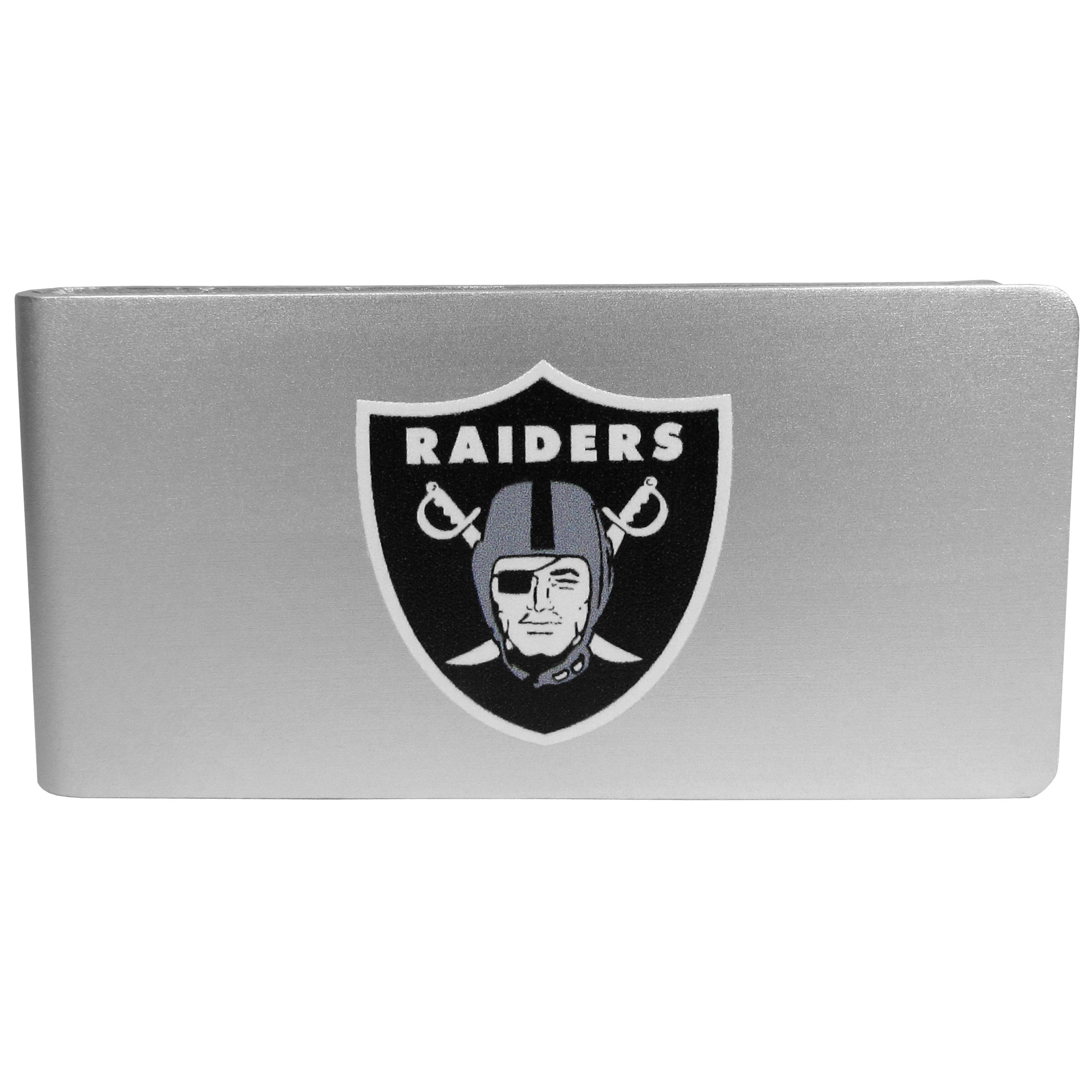 Oakland Raiders Logo Money Clip - Our brushed metal money clip has classic style and functionality. The attractive clip features the Oakland Raiders logo expertly printed on front.
